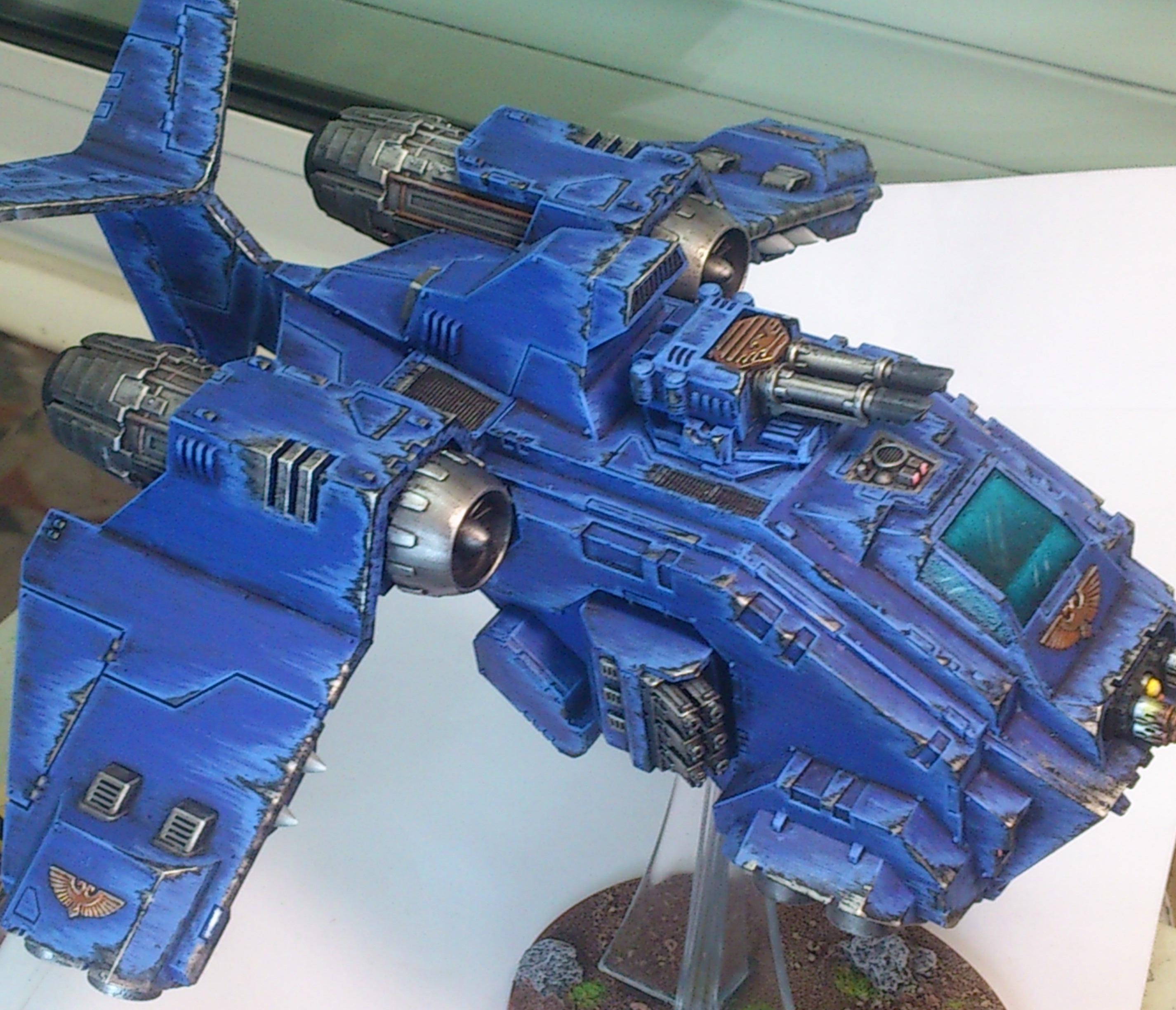 Attack Flyer, Canopy, Chipping, Effect, Flyer, Flying, Plane, Space Marines, Speed, Stormraven, Ultramarines, Utra, Vehicle, Warhammer 40,000