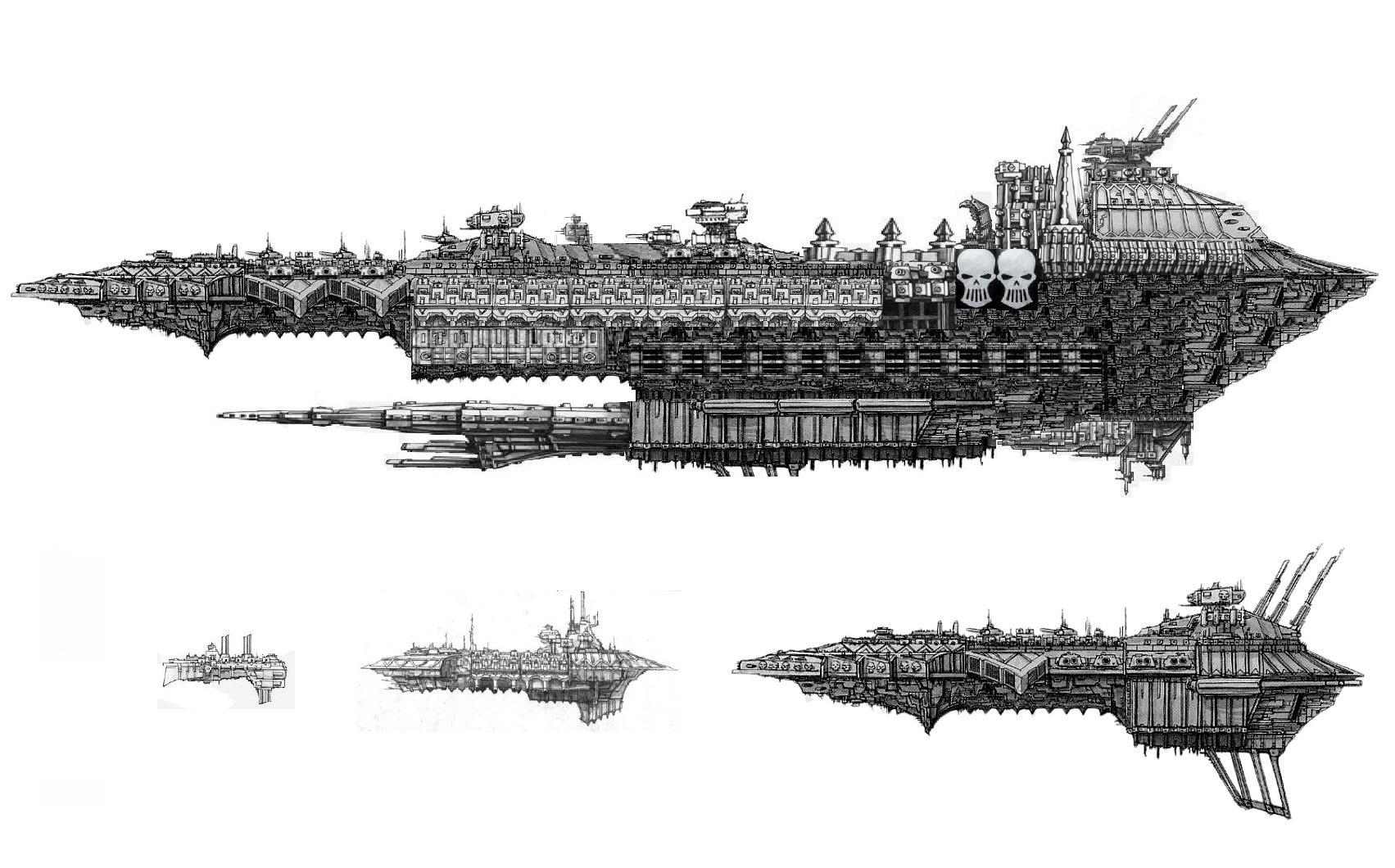 Battlefleet Gothic, Chaosfleet, Gothic, Iron Warriors, Planetkiller, Size, Warpship