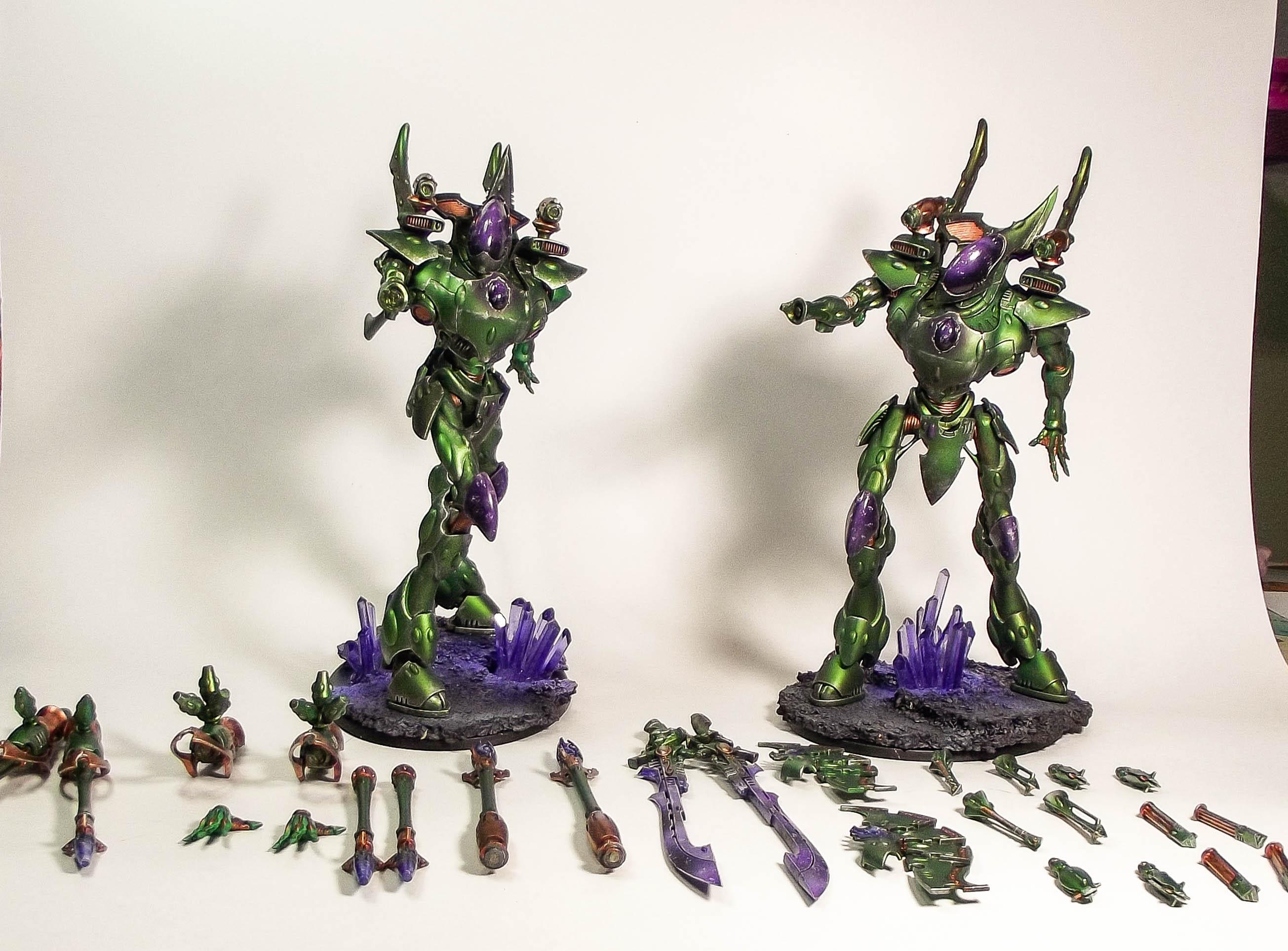 Crystal, Eldar, Green, Metallic, Purple, Warhammer 40,000, Wraithknight