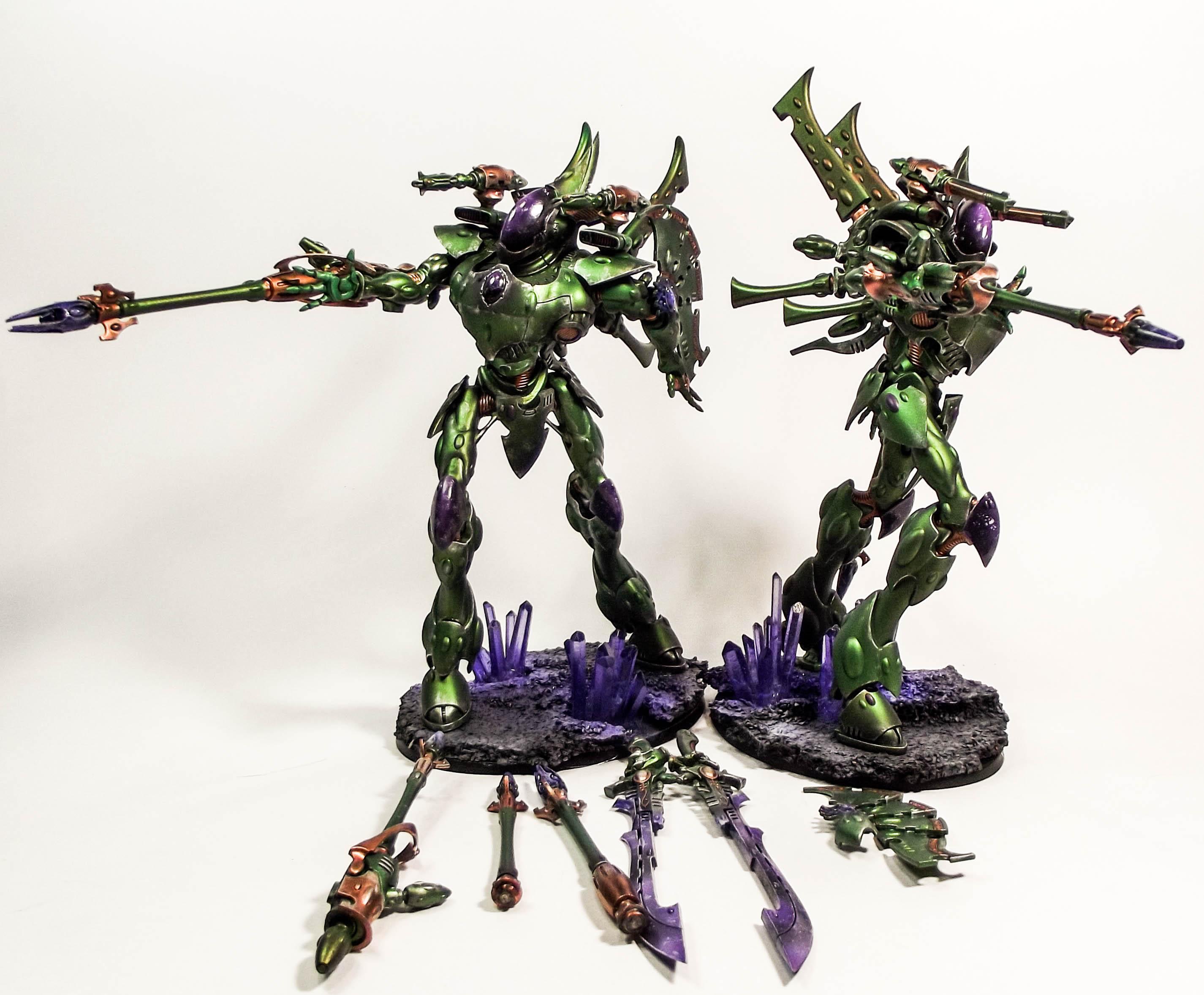 Eldar, Green, Metallic, Purple, Warhammer 40,000, Wraithknight