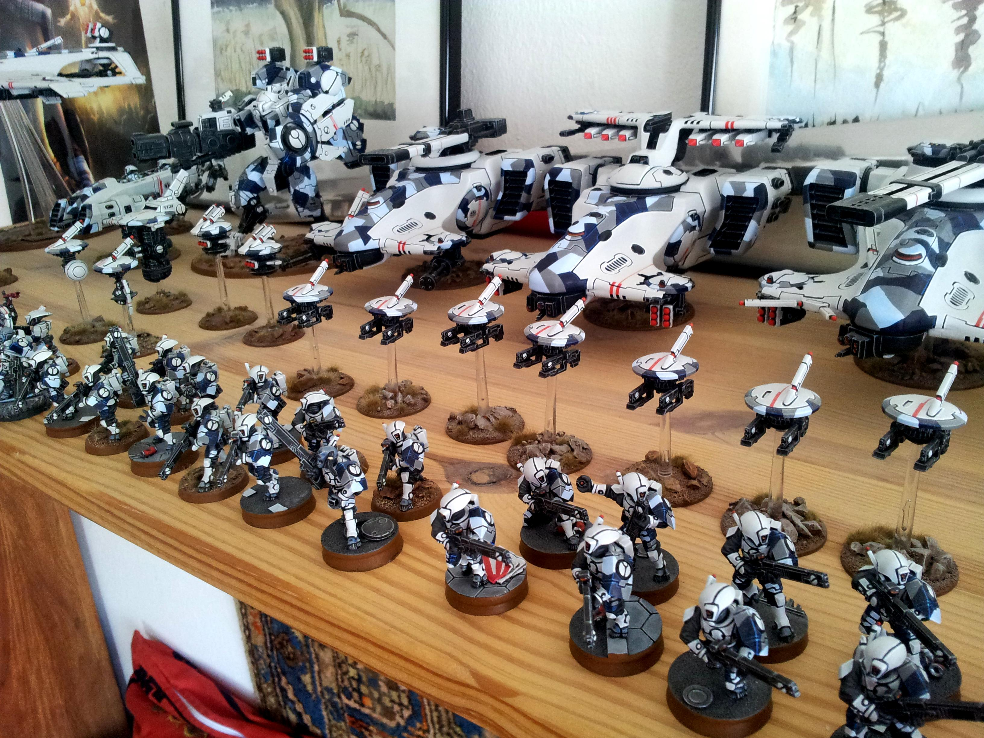 Drones, Fire Warriors, Hammerhead, Tau, Tau Army, White