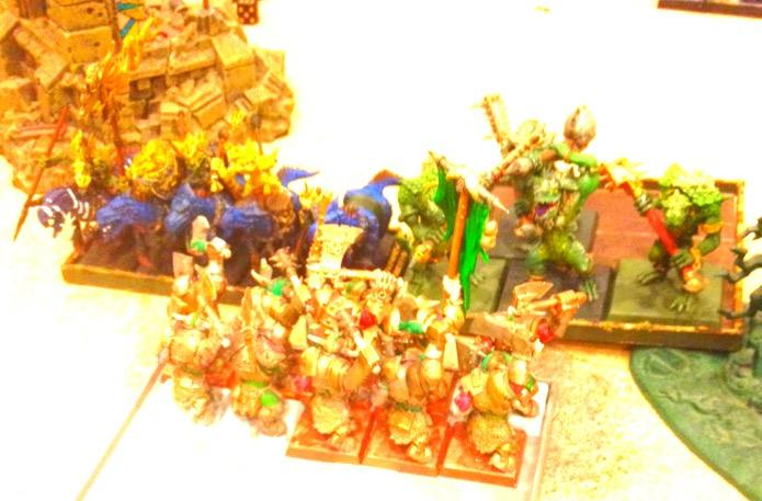 Black Orcs got charged my kroxigors and saurus riders