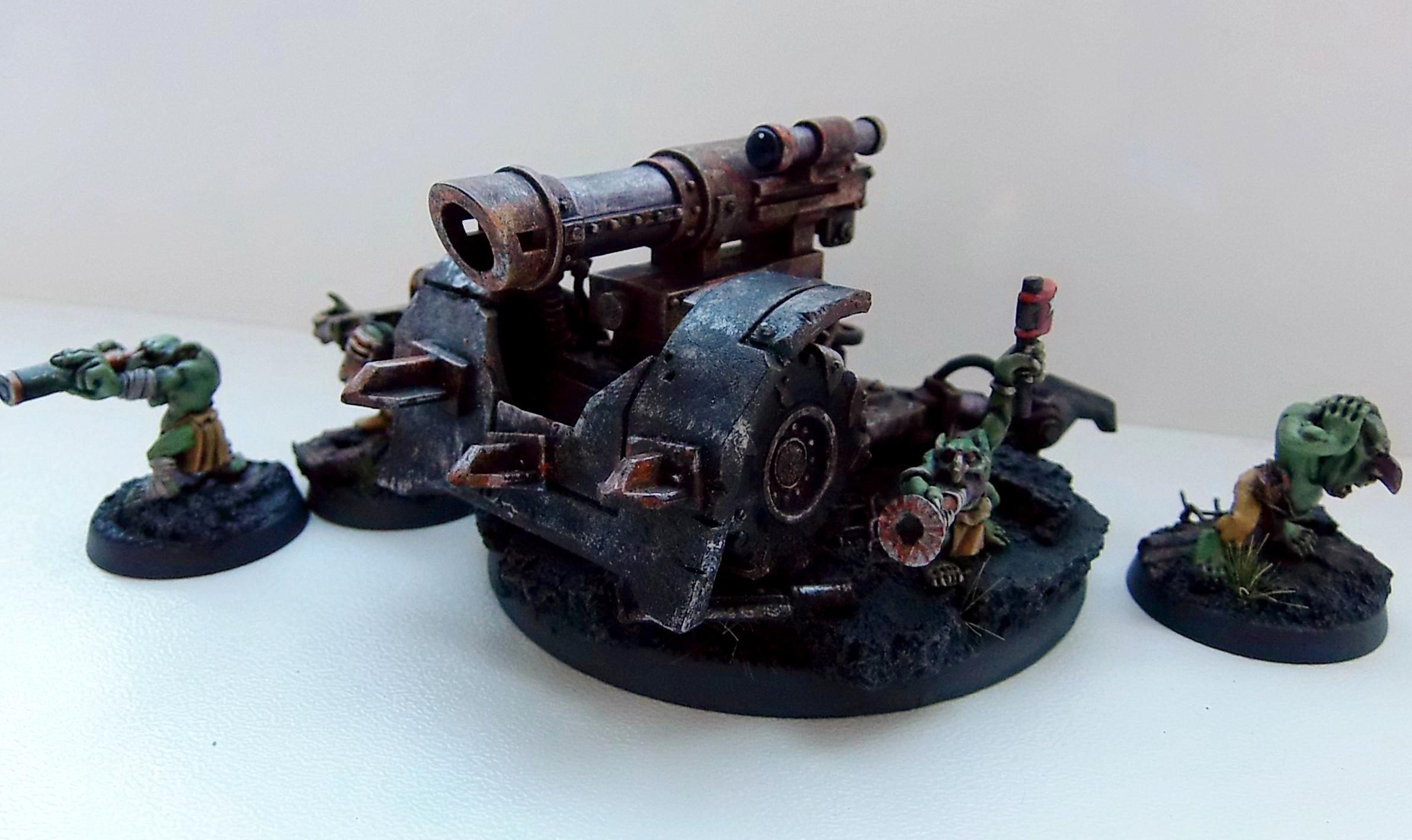 Big Gunz, Conversoin, Grotz, Mek Guns, Orks, Painted