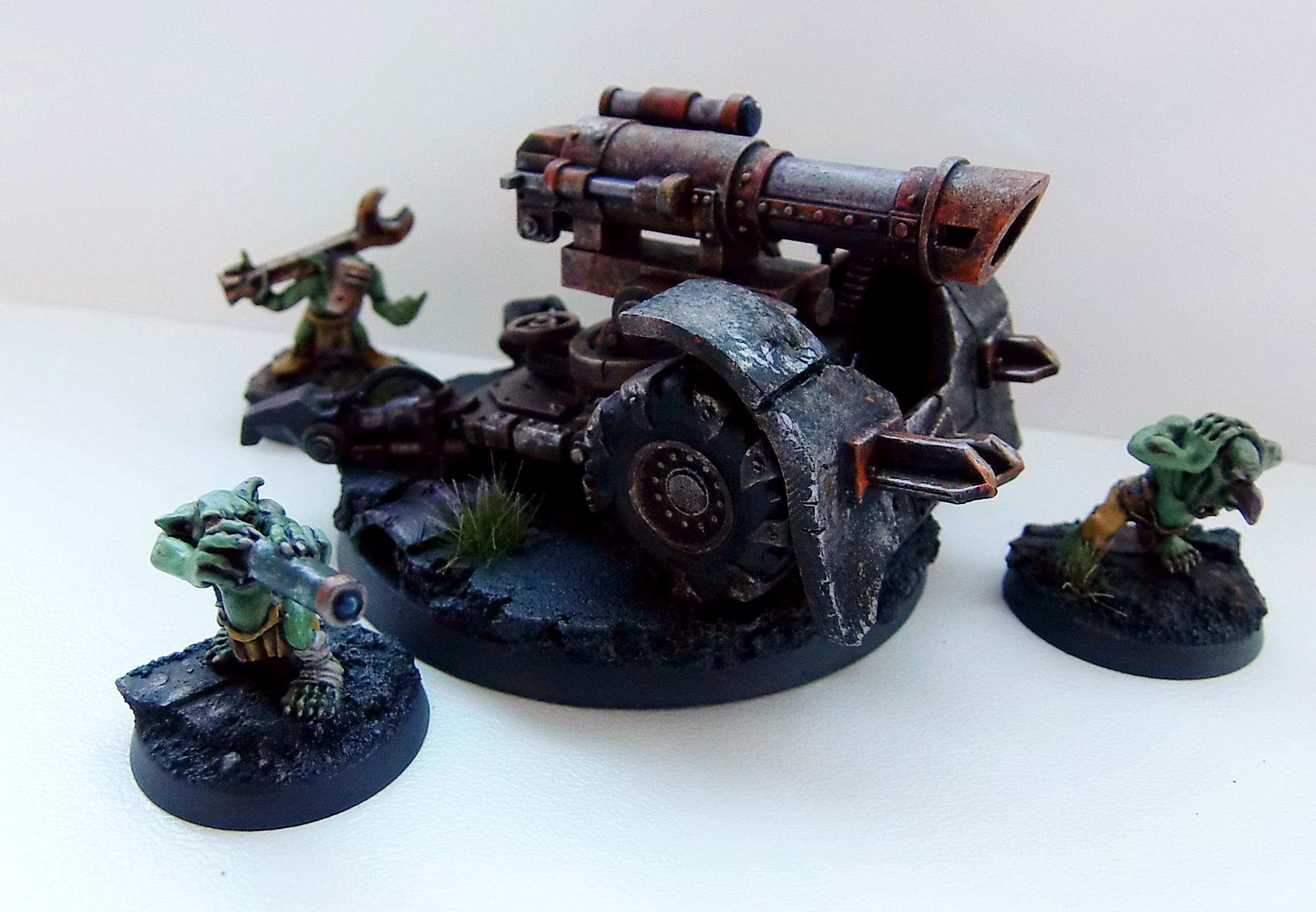 Big Gunz, Conversoin, Grotz, Mek Guns, Orks, Painted