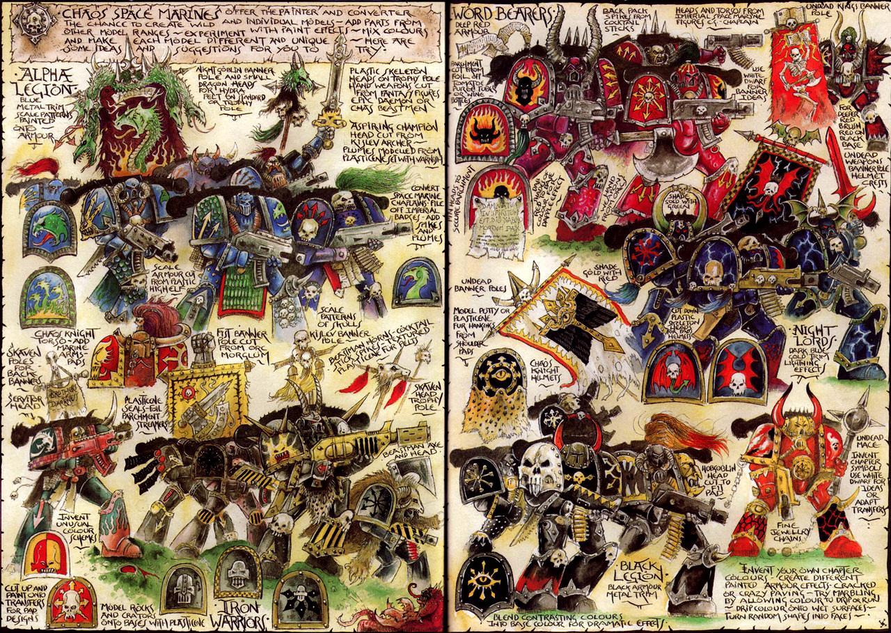 Alpha Legion, Black Legion, Chaos, Chaos Space Marines, Iron Warriors, John Blanche, Nightlords, Space Marines, Warriors Of Chaos, Word Bearers