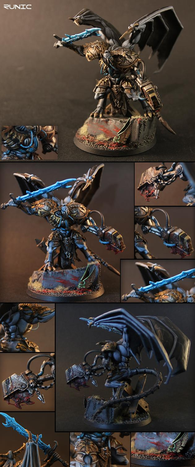 Chaos, Chaos Daemons, Chaos Space Marines, Daemon Prince, Daemons, Iron Warriors, Power Armour, Saw, Warhammer 40,000, Winged
