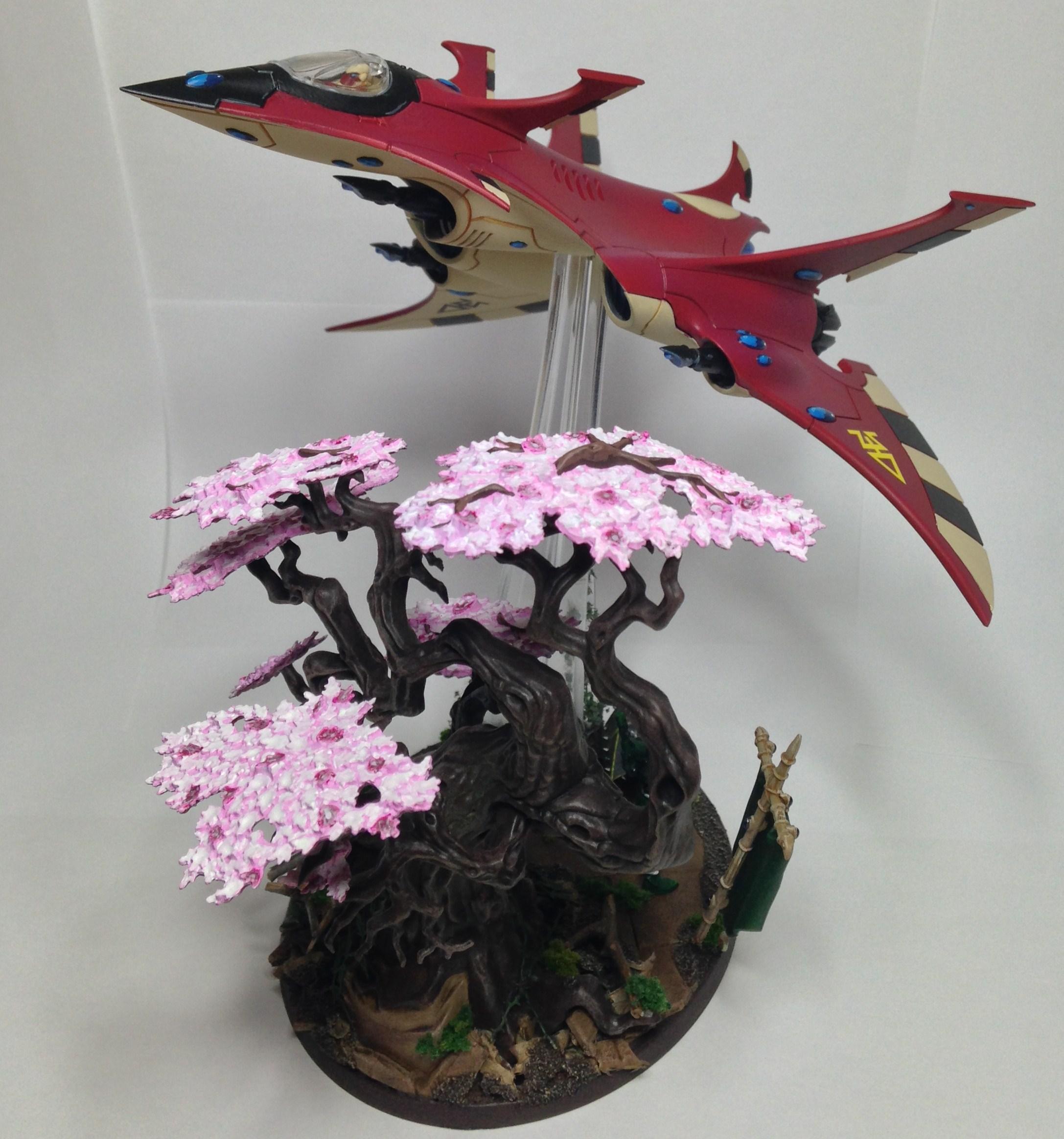 Asian, Blossom, Chinese, Crimson, Crimson Hunter, Eldar, Flyer, Hunter, Japanese, Plane, Trees