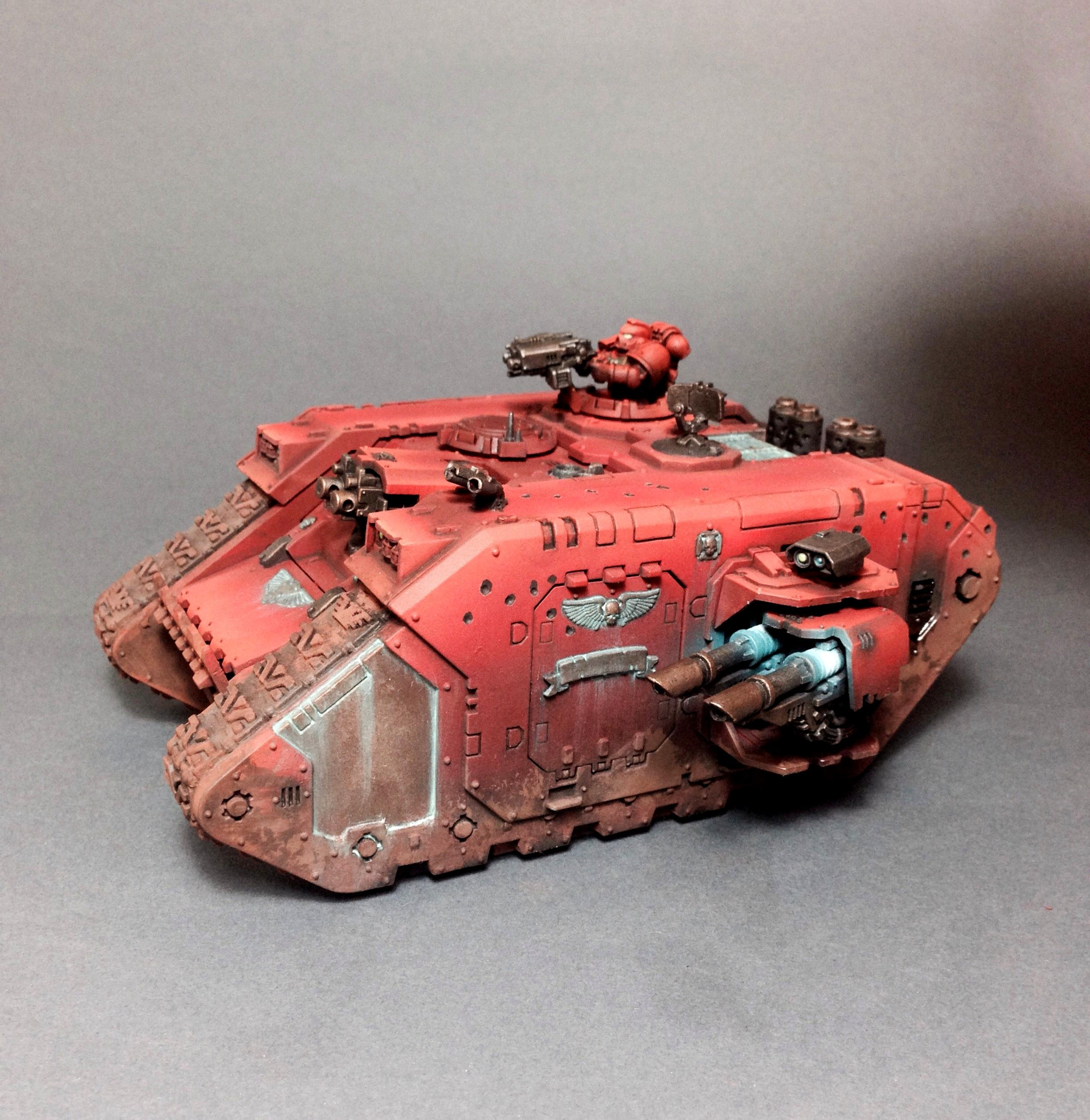Airbrush, Blood Angels, Land Raider, Object Source Lighting, Pigment, Verdigris, Weathered