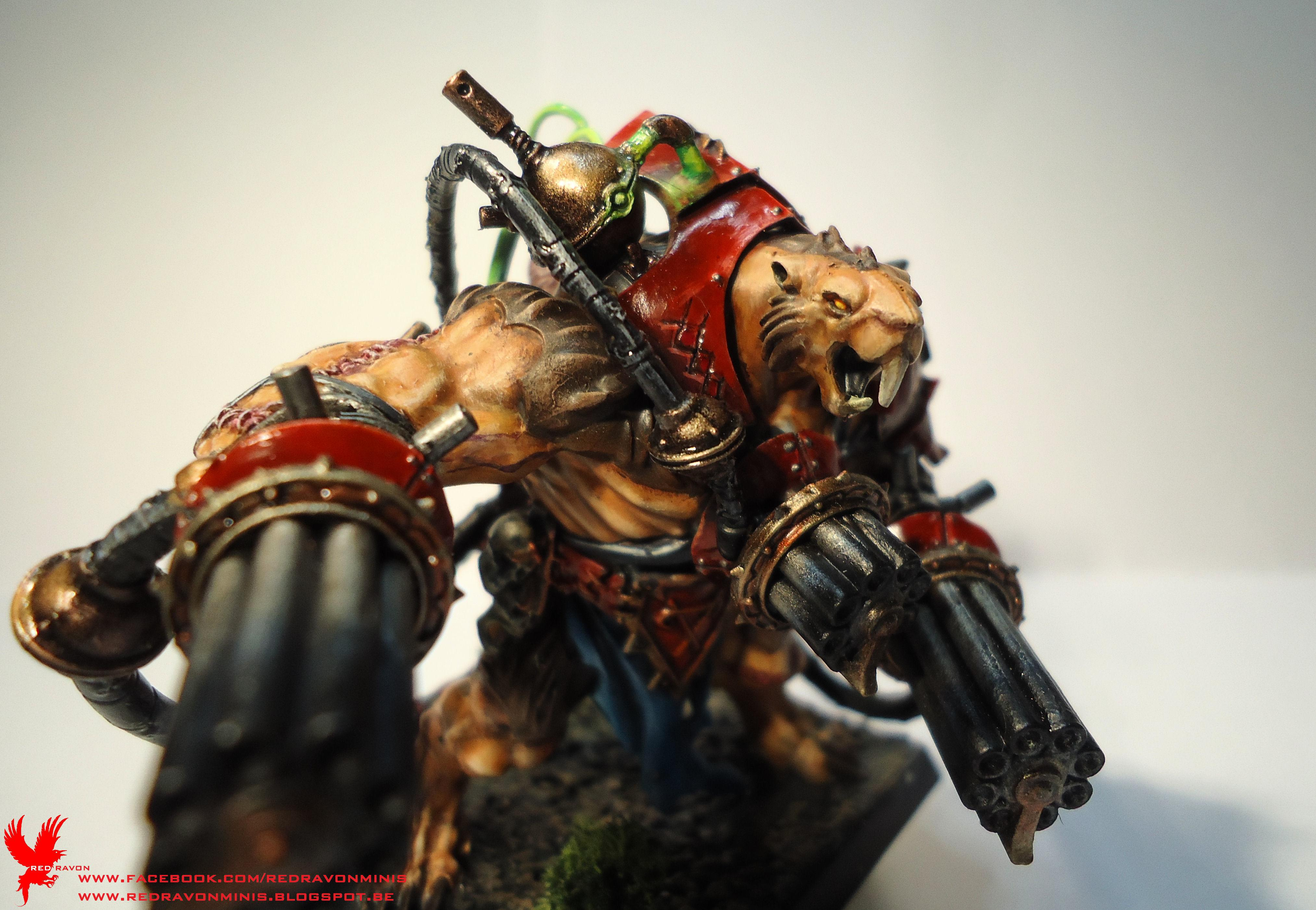 Blue Cloth, Green Tubes, Red Armour, Skaven, Stormfiend, Warhammer Fantasy