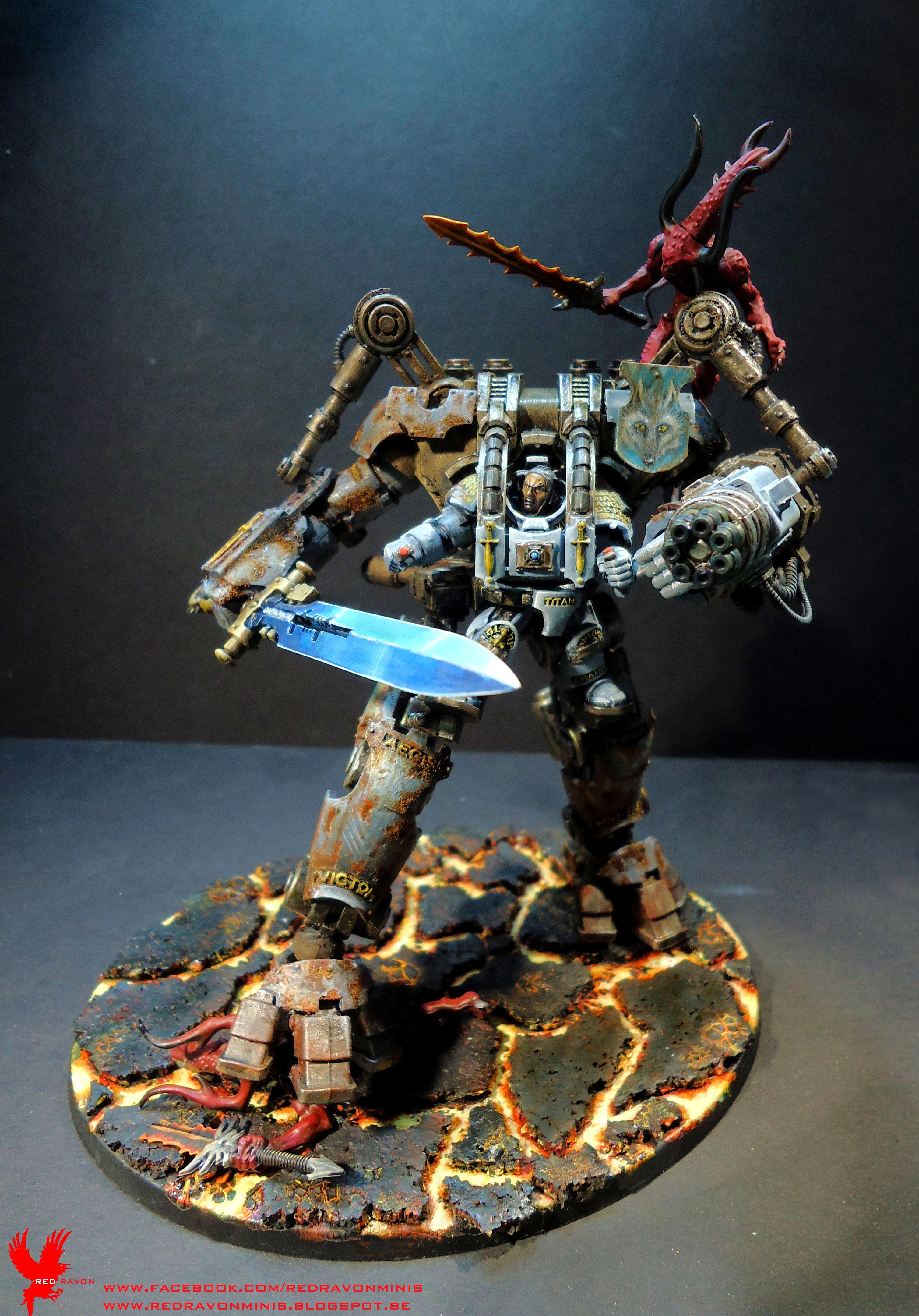 Bloodletters, Freehand, Grey Knights, Khorne, Lava, Nemesis Dreadknight, Space Wolves, Weathered