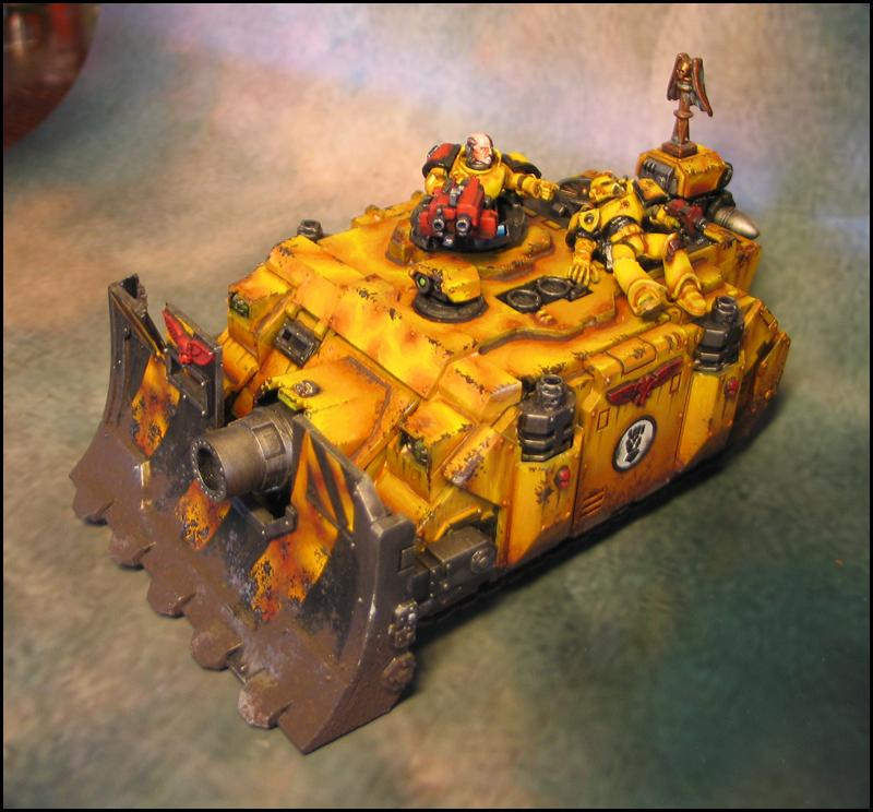 Imperial Fists, Mud, Siege Shield, Space Marines, Tank, Vindicator, Weathered, Yellow