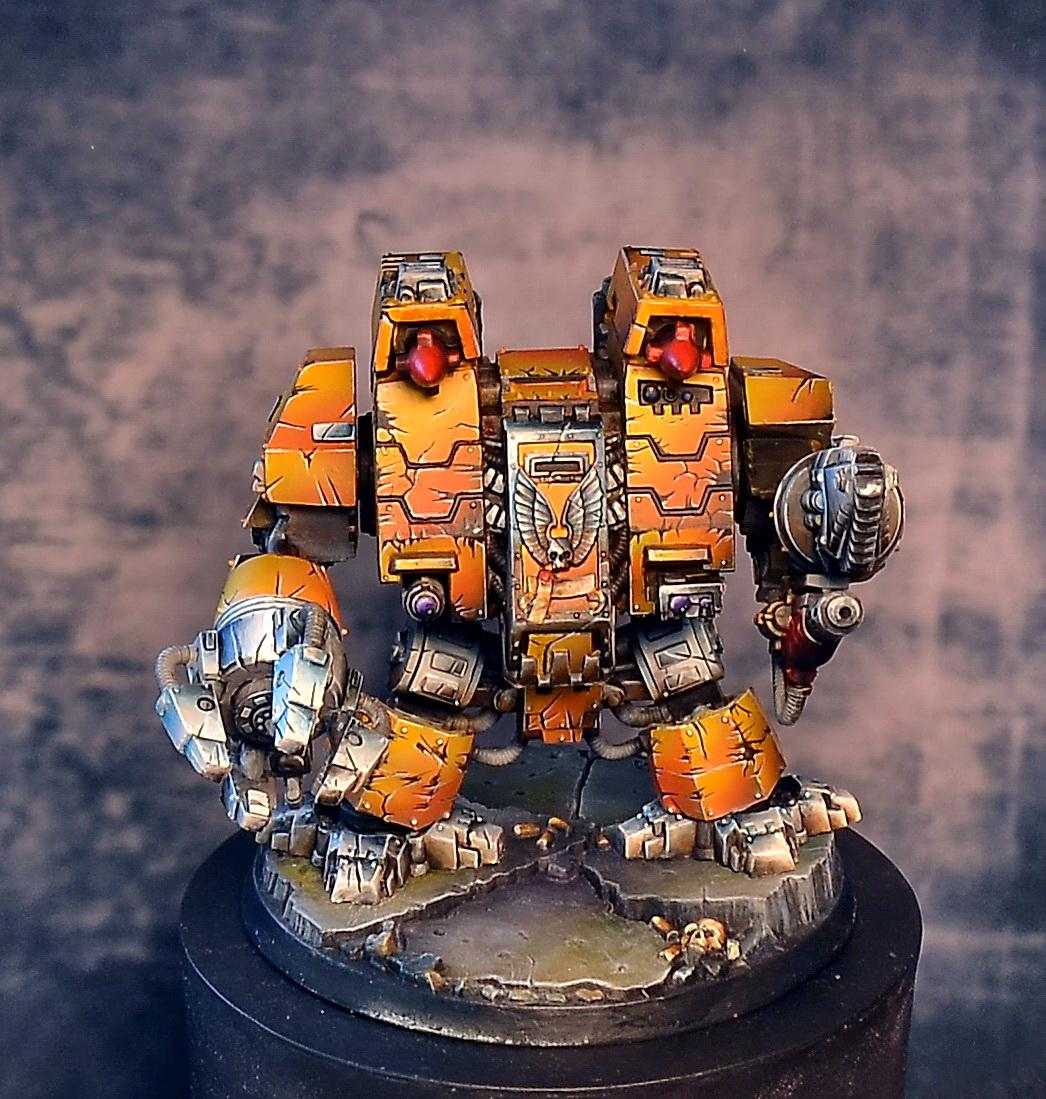 Astartes, Dreadnought, Imperial Fists, Non-Metallic Metal, Space Marines, Warhammer 40,000, Warhammer Fantasy, Weathered