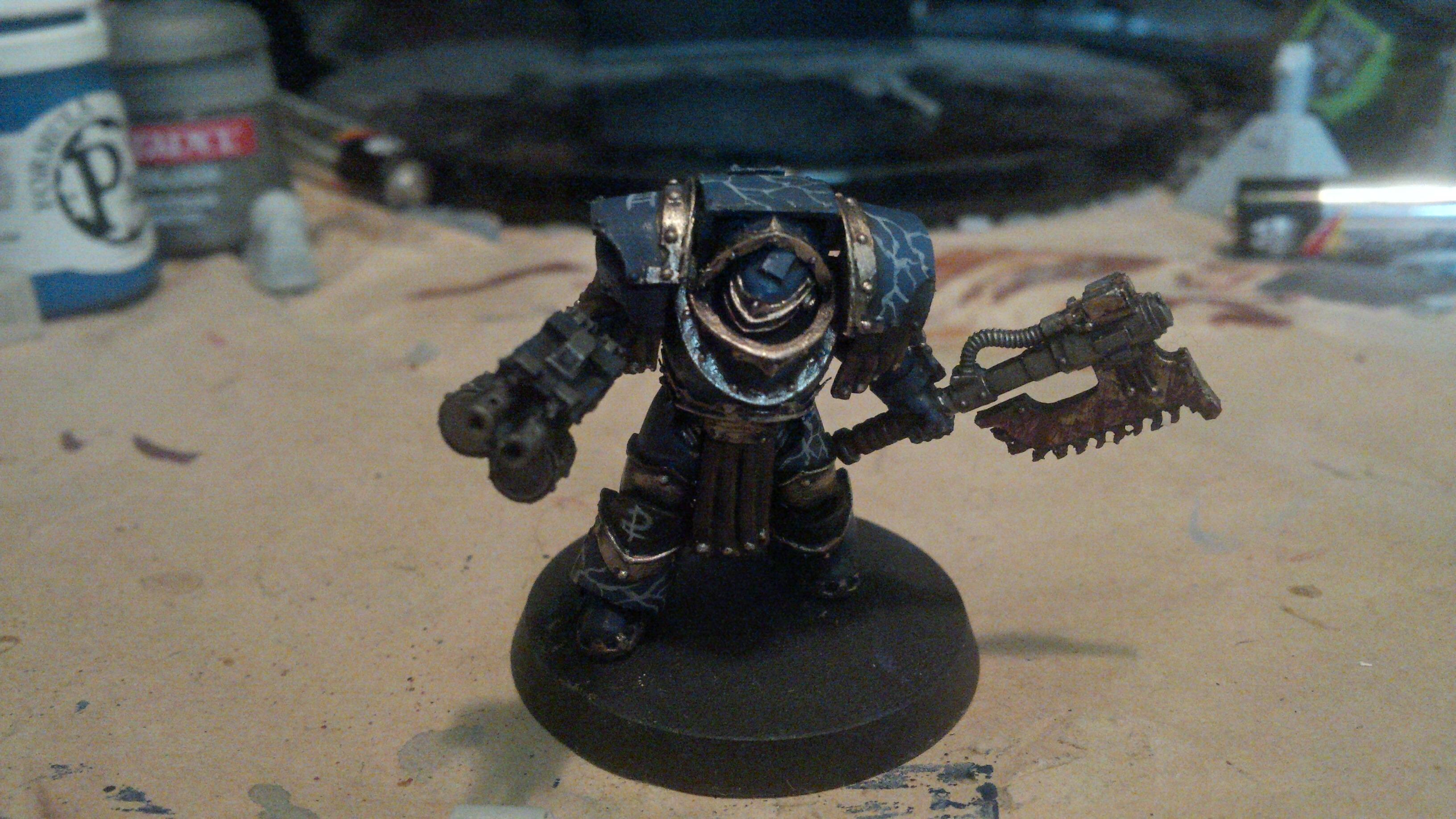 30k, Blue, Cataphractii, Gold, Horus Heresy, Lightning, Night Lord, Power Axe, Skull, Terminator Armor