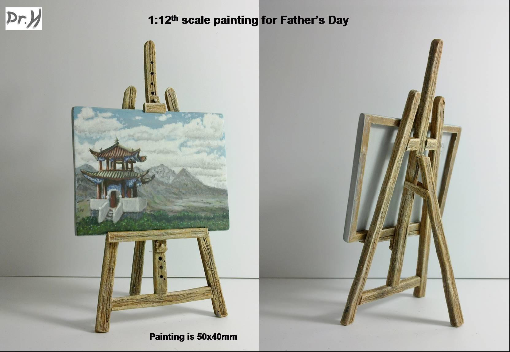 1:12 scale painting and easel for Father's Day