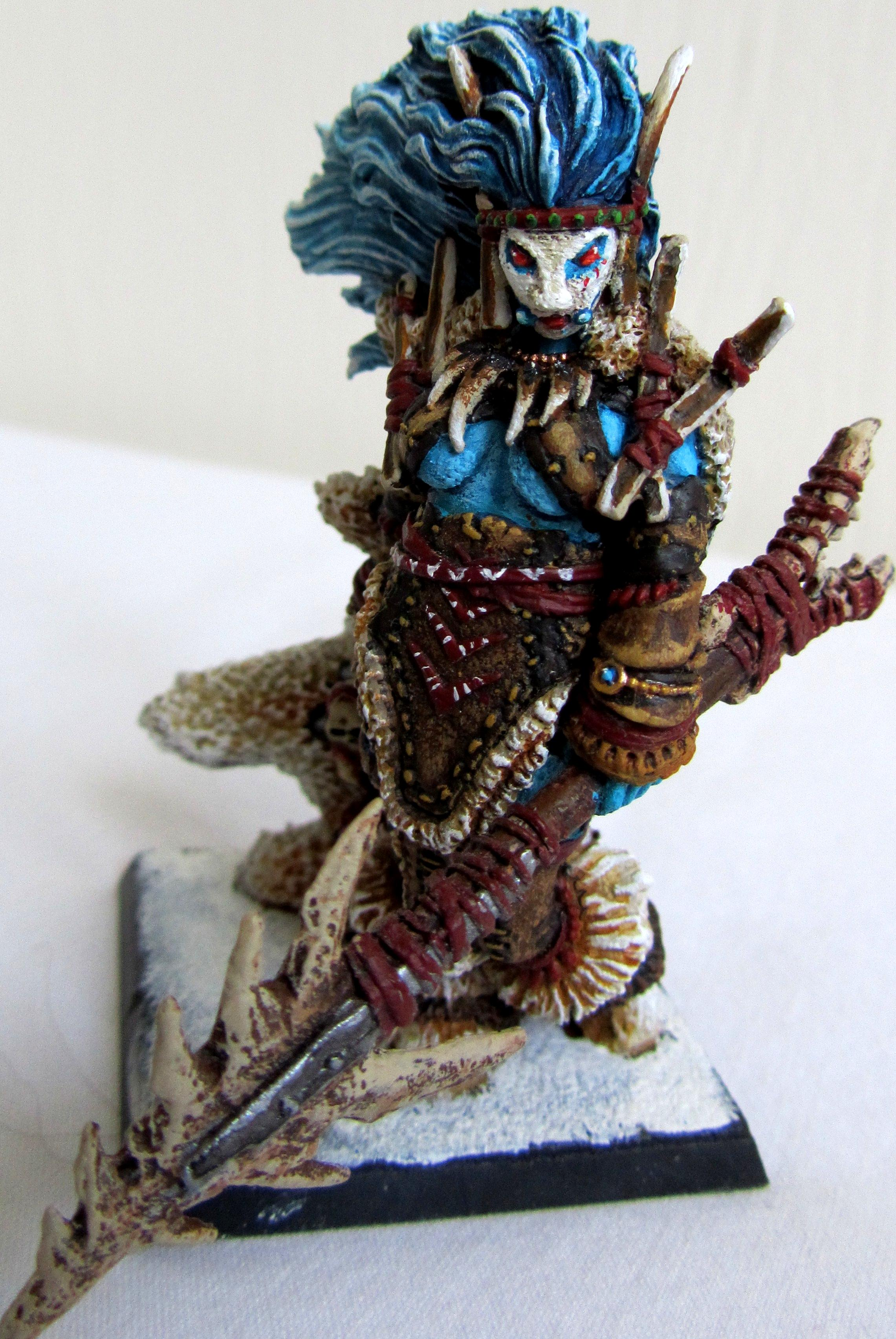 Blue, Bone, Female, Frost, Frost Giant, Ice, Ice Giant, Leather, Native, Tattoo