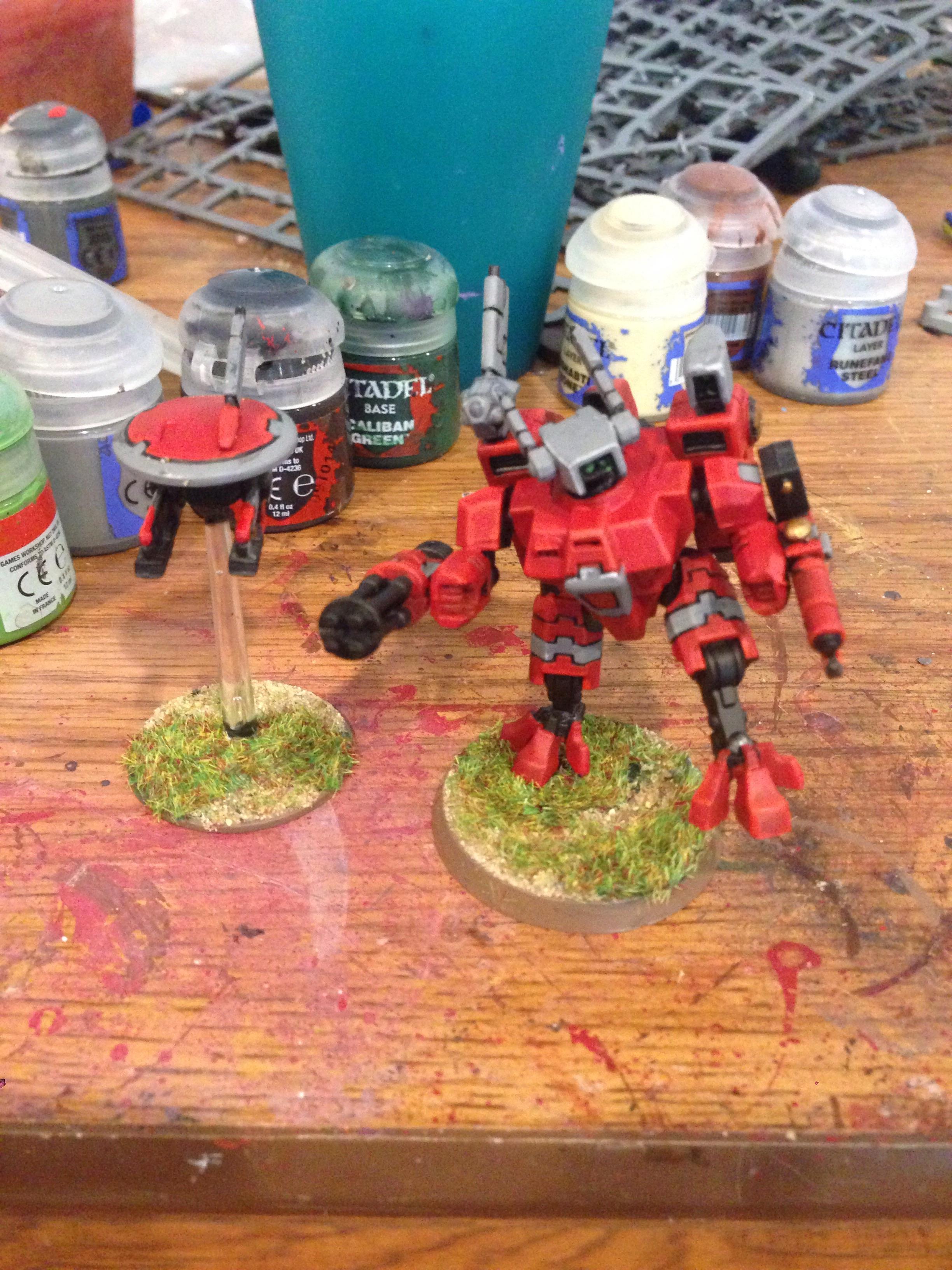 Amry, Commander, Drone, Gun, Tau, Warhammer 40,000, Work In Progress, Xv-8