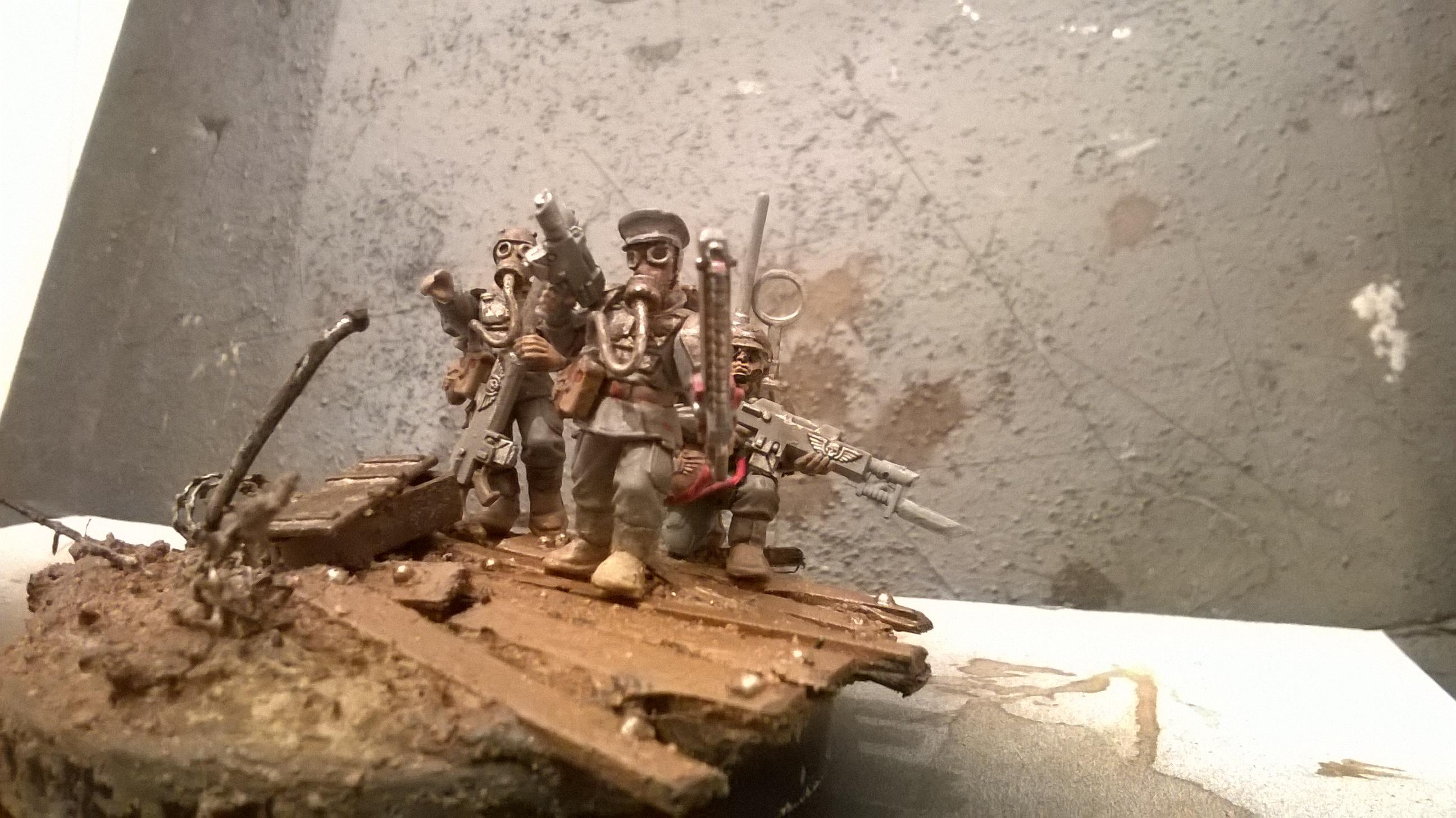 Battle, Build, Built, Chainsword, Death Korp, Death Korps of Krieg, Diorama, Dirt, Gas Masks, Guard, Imperial, Kitbash, Lasgun, Mud, Pigments, Rebreathers, Rust, Scratch, Trench, Trooper