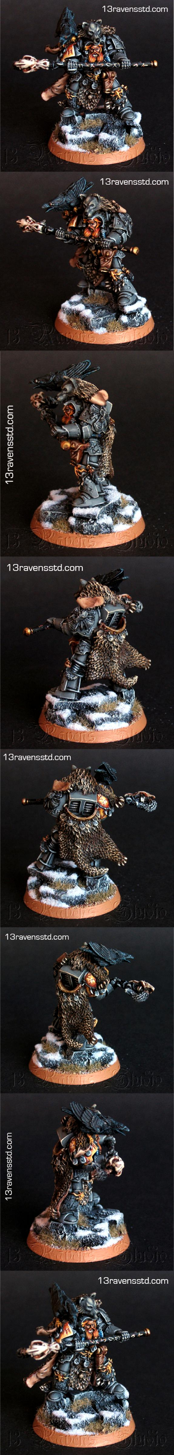 Librarian, Njal Stormcaller, Runic Priest, Scenery Base, Space Wolves, Warhammer 40,000