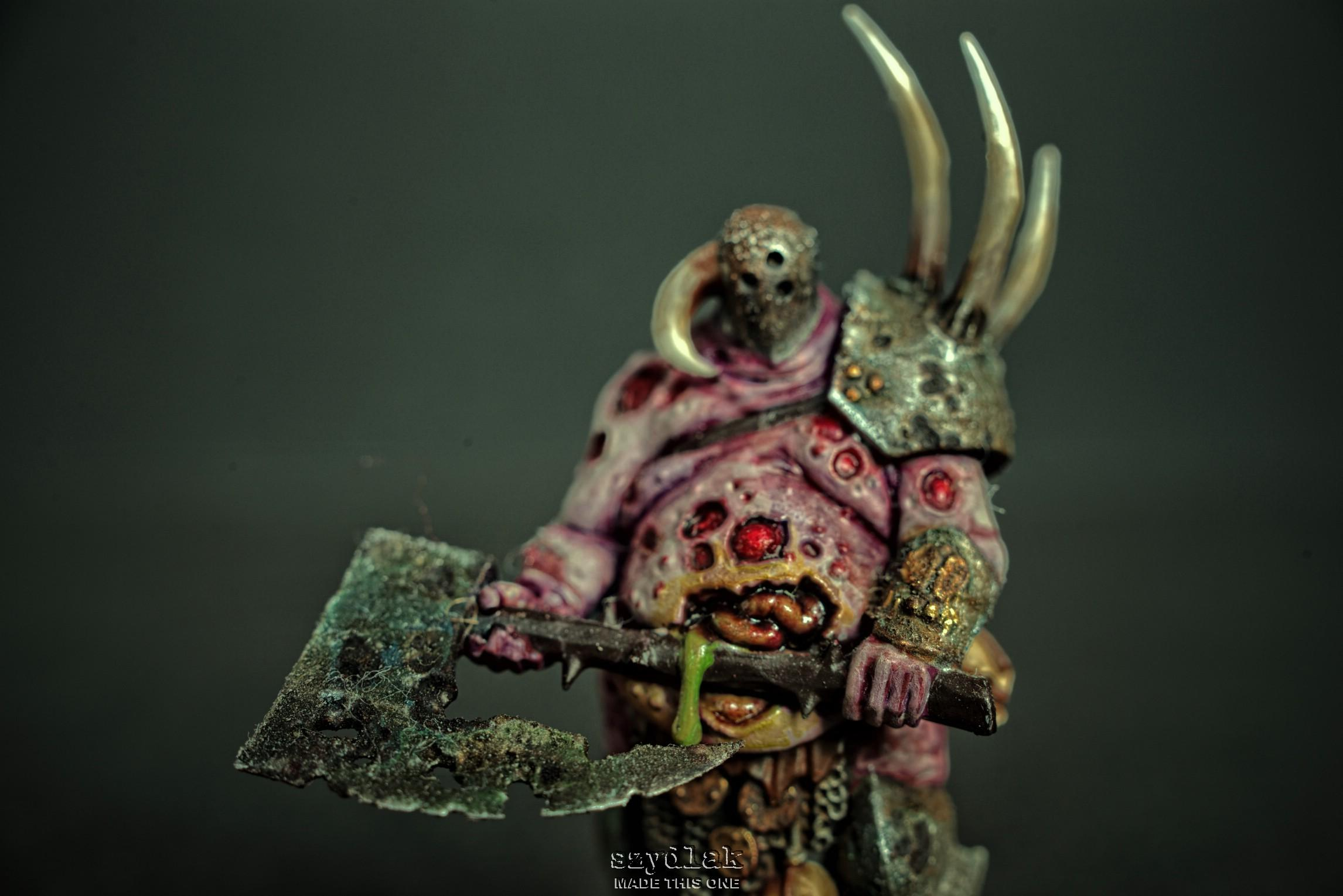 Axe, Bloody, Chaos, Daemons, Dark, Decay, Guts, Helmet, Lord, Miniature, Nurgle, Nurgle's Rot, Rust, Rusty, Szydlak, Texture, Warhammer 40,000, Warhammer Fantasy, Weapon