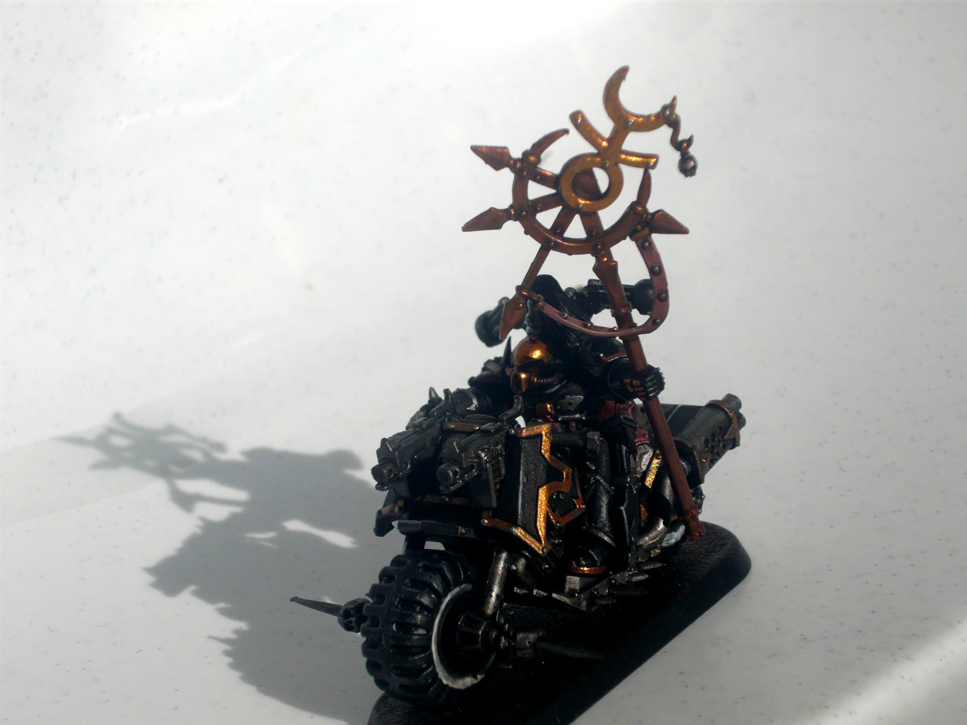 Black Legion Chaos Biker Champion with mark of Slaanesh and Icon of Excess