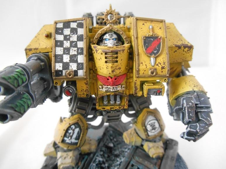 Adepus Astartes, Battle Damage, Checkerboard, City, Dreadnought, Imperial Fists, Lascannon, Rubble, Ruins, Space Marines, Urban, Venerable Dreadnought, Weathered, Yellow