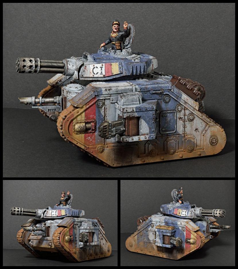 Astra Militarum, Imperial Guard, Leman Russ, Pask, Punisher, Tank, Tank Commander, Weathered