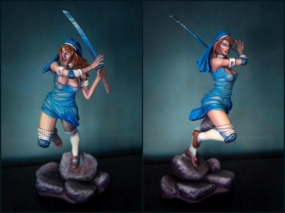 Albinoraven, Blue Dress, Girl, Katana, Nsfw, Samurai Girl