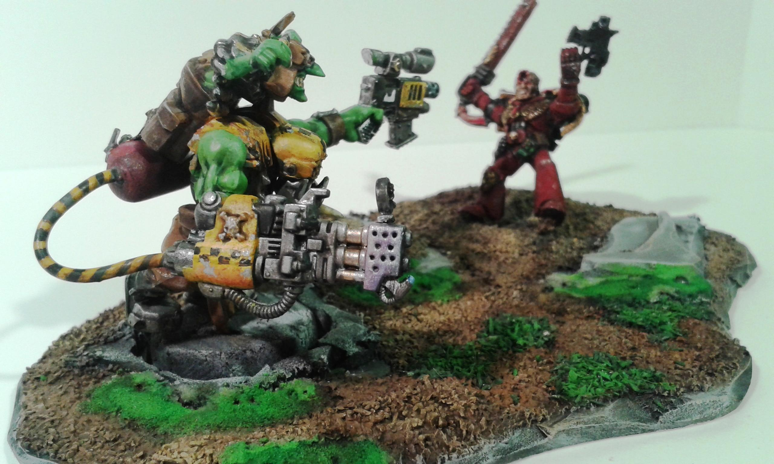 Bad Moons, Conversion, Diorama, Evil, Flamer, Gretchin, Grots, Iron, Mega, Metall, Nob, Orks, Shooter, Waaagh, Warboss, Yellow