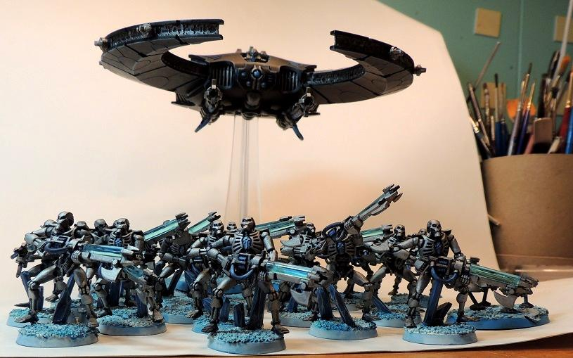 Blue Theme, Doomscythe, Necron Warriors, Necrons, Warhammer 40,000