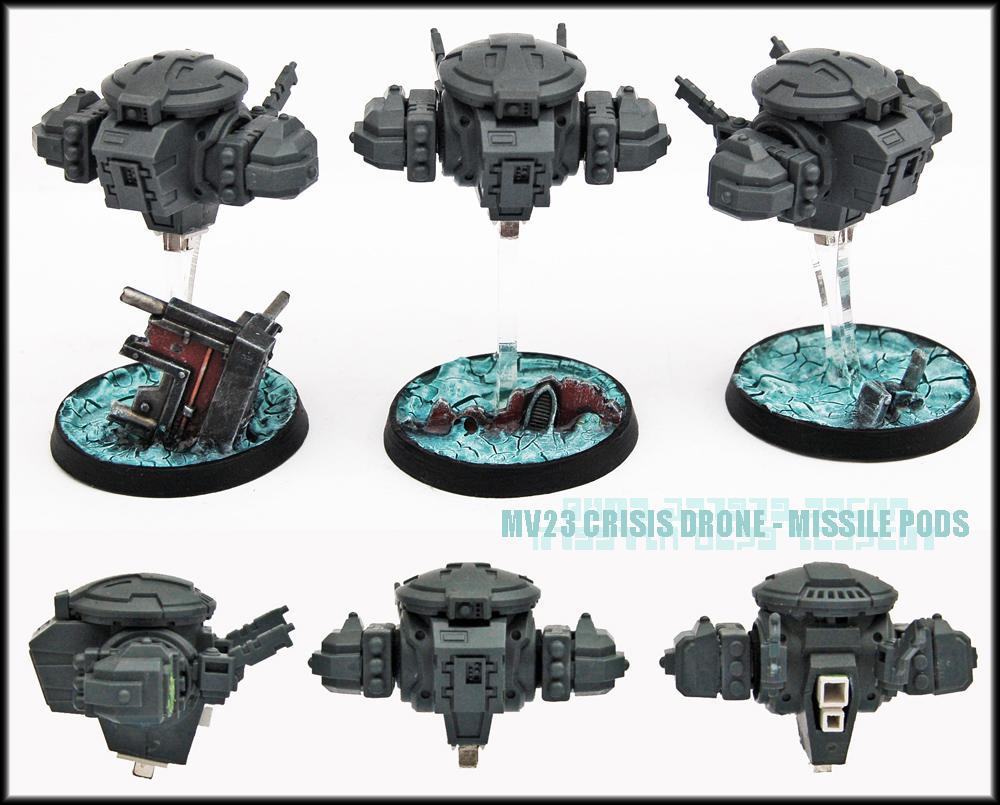 Battlesuit, Conversion, Crisis Battlesuit, Drone, Drones, Missile Pod, Tau, Tau Empire