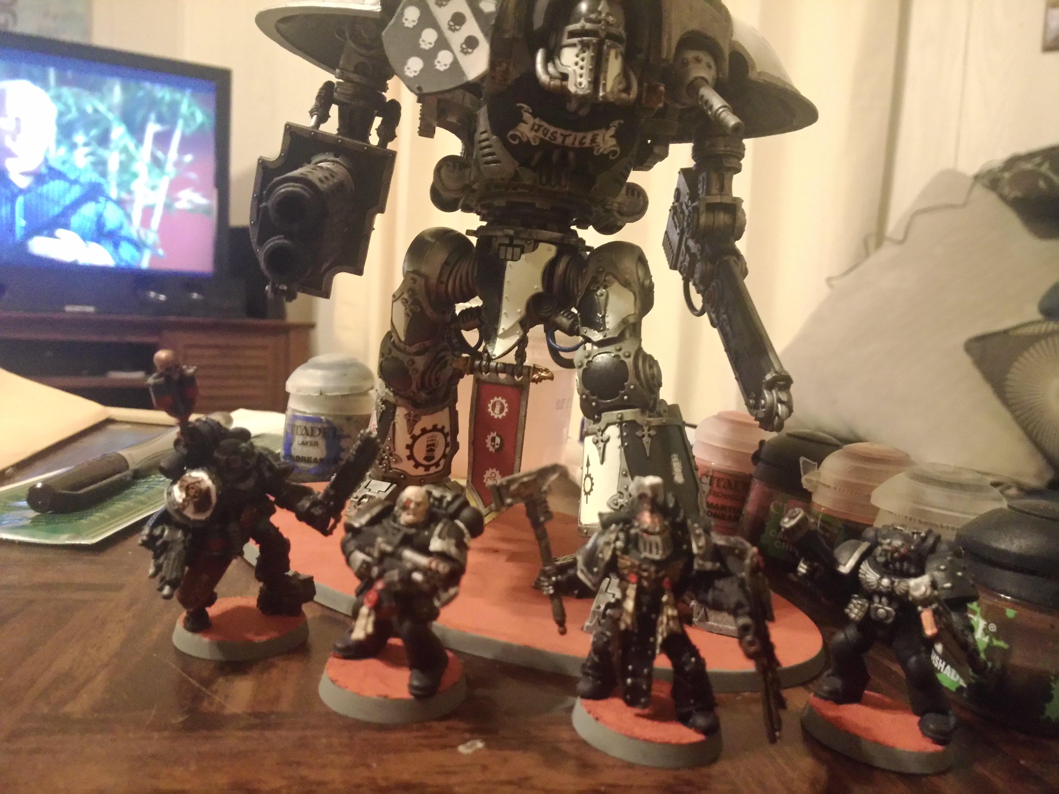 Freeblade, Imperial Knight, Iron Hands, Space Marines, Titan