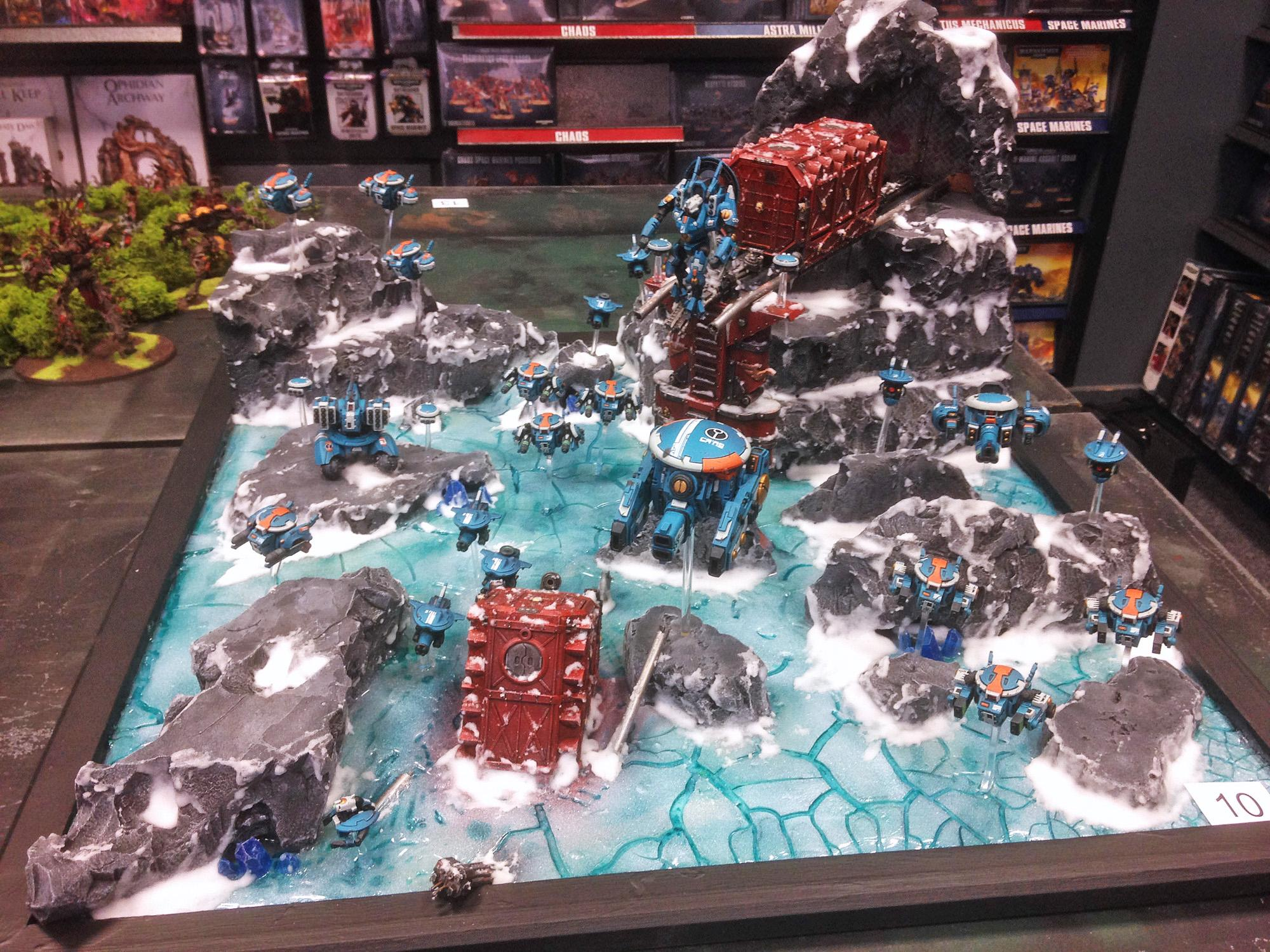 Armies On Parade, Containers, Conversion, Display Board, Drone, Drones, Frozen, Ice, Mountains, Railway, Snow, Tau, Tau Empire