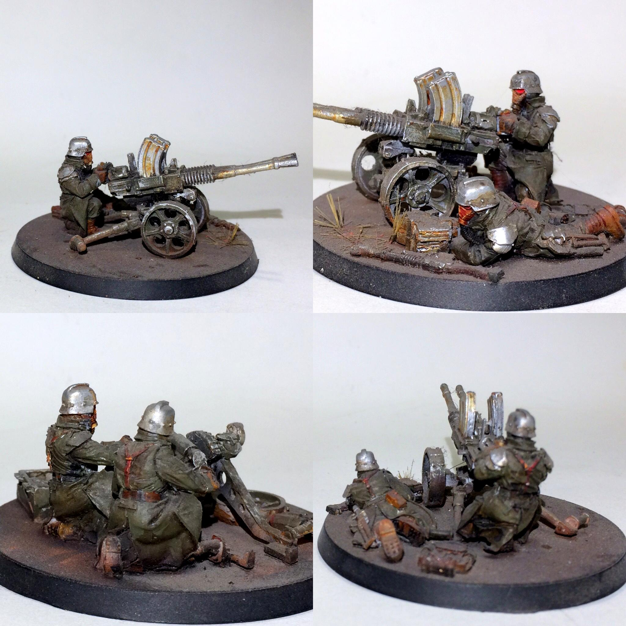 Airbrushed, Death Korps of Krieg, Flocked, Forge World. Heavy Weapons Team, Heavy Stubber Team, Warhammer 40,000