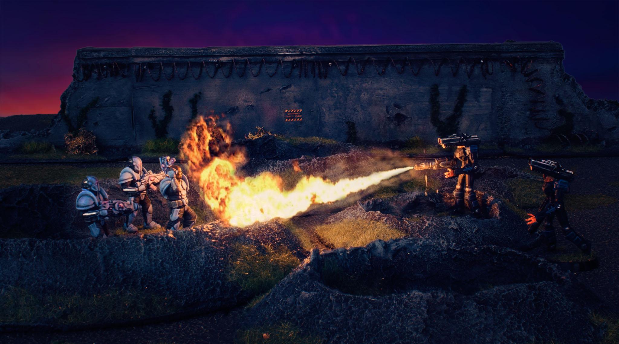 Bots, Craters, Epirian, Karist Troopers, Maelstrom's Edge, Scarecrow, Terrain