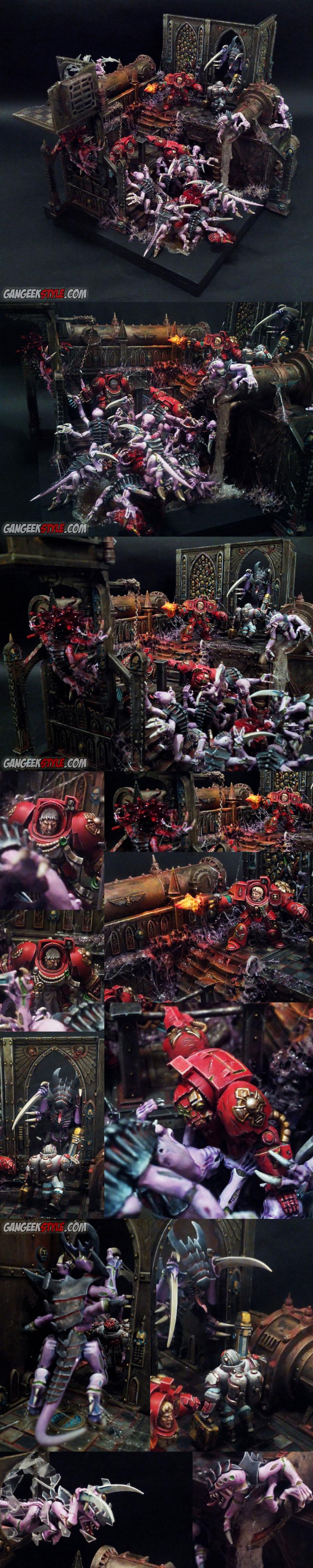 Blood Angels, Diorama, Object Source Lighting, Space Hulk, Space Marines, Tyranids