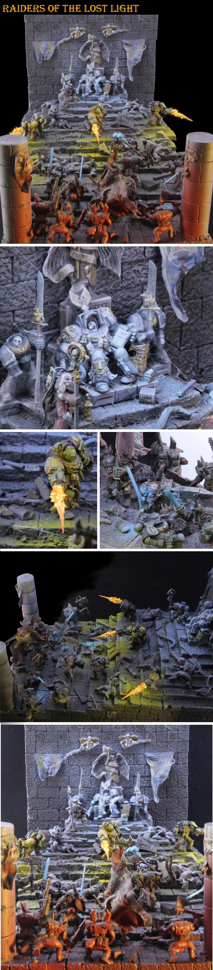 Diorama, Object Source Lighting, Orks, Space Marines