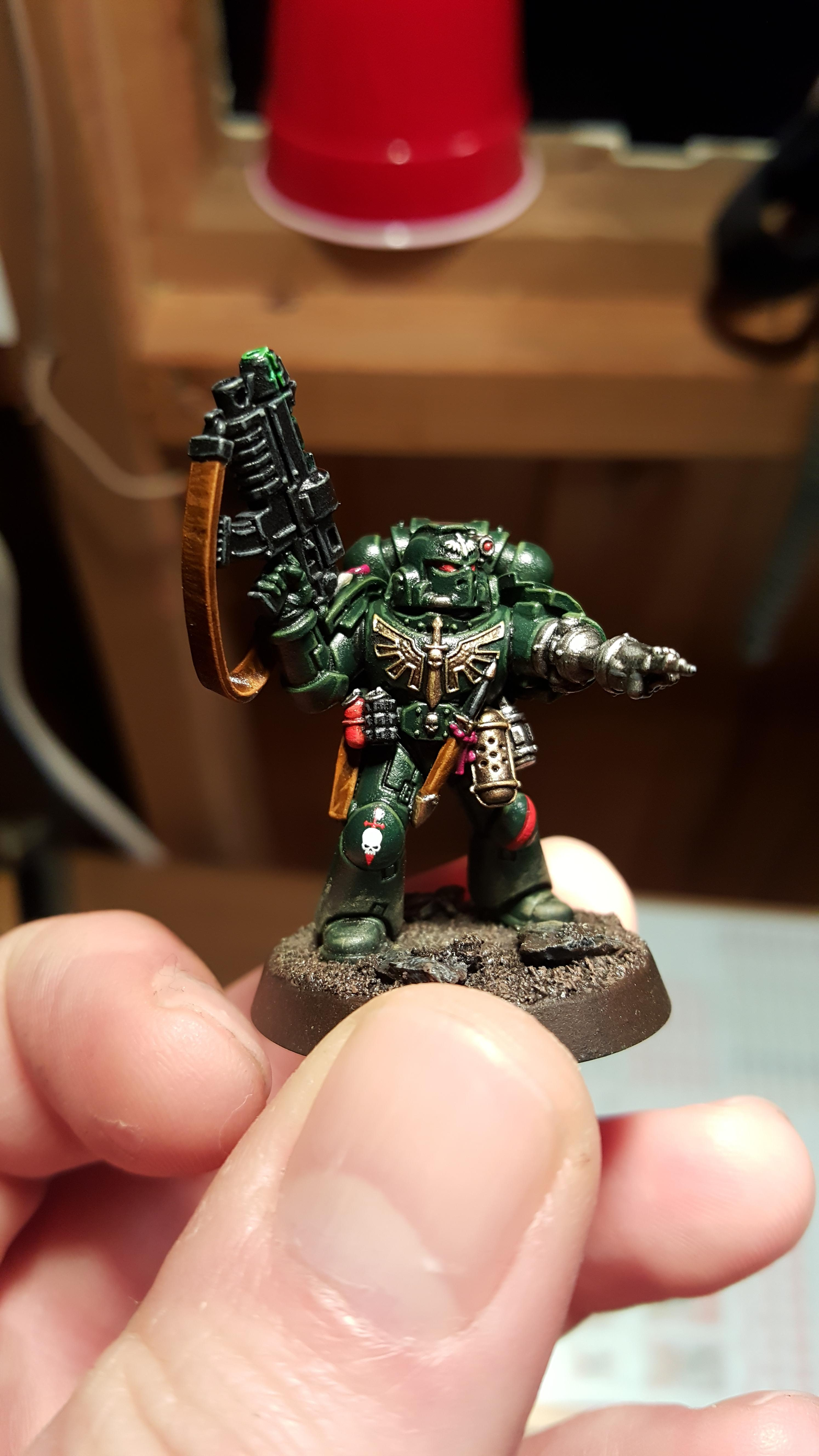 Combi-bolter, Dark Angels, Power Armor, Sargeant, Space Marines, Tactical Squad, Warhammer 40,000