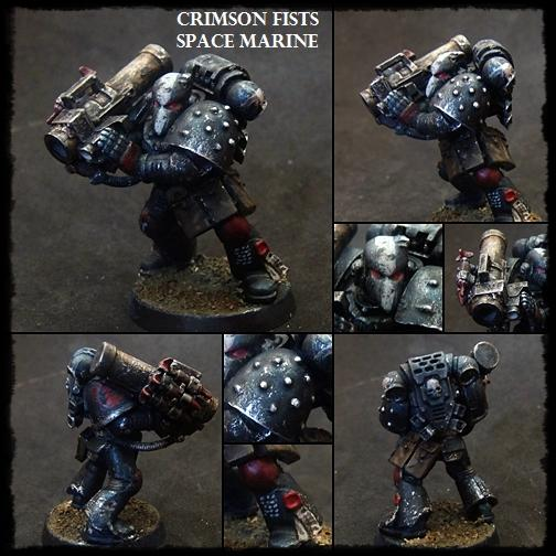 Beakie, Crimson Fists, Missile Launcher, Space Marines, Tactical Squad, Weathered