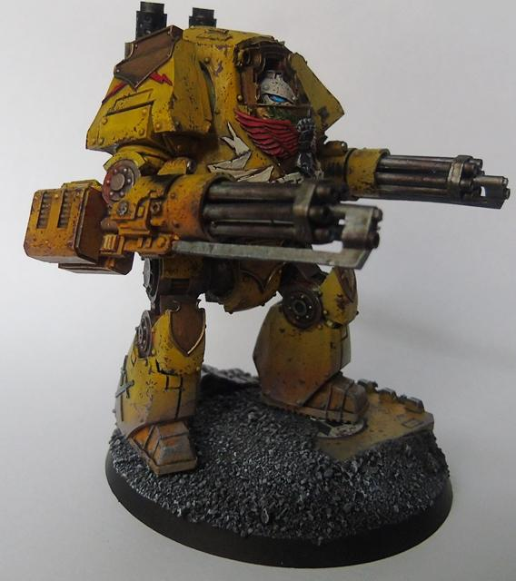 Adepus Astartes, Battle Damage, City, Contemptor Mortis Dreadnought, Imperial Fists, Kheres Assault Cannon, Rubble, Ruins, Space Marines, Urban, Weathered, Yellow
