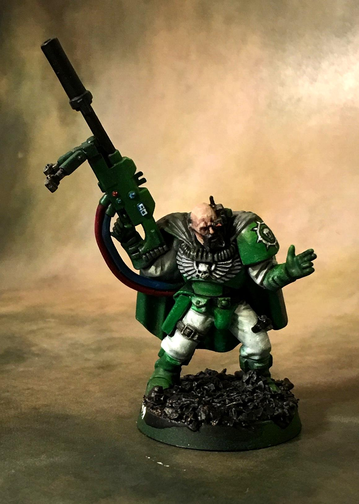 Green, Scout Sergeant, Sniper Rifle, Sons Of Medusa, Space Marines, White, Work In Progress