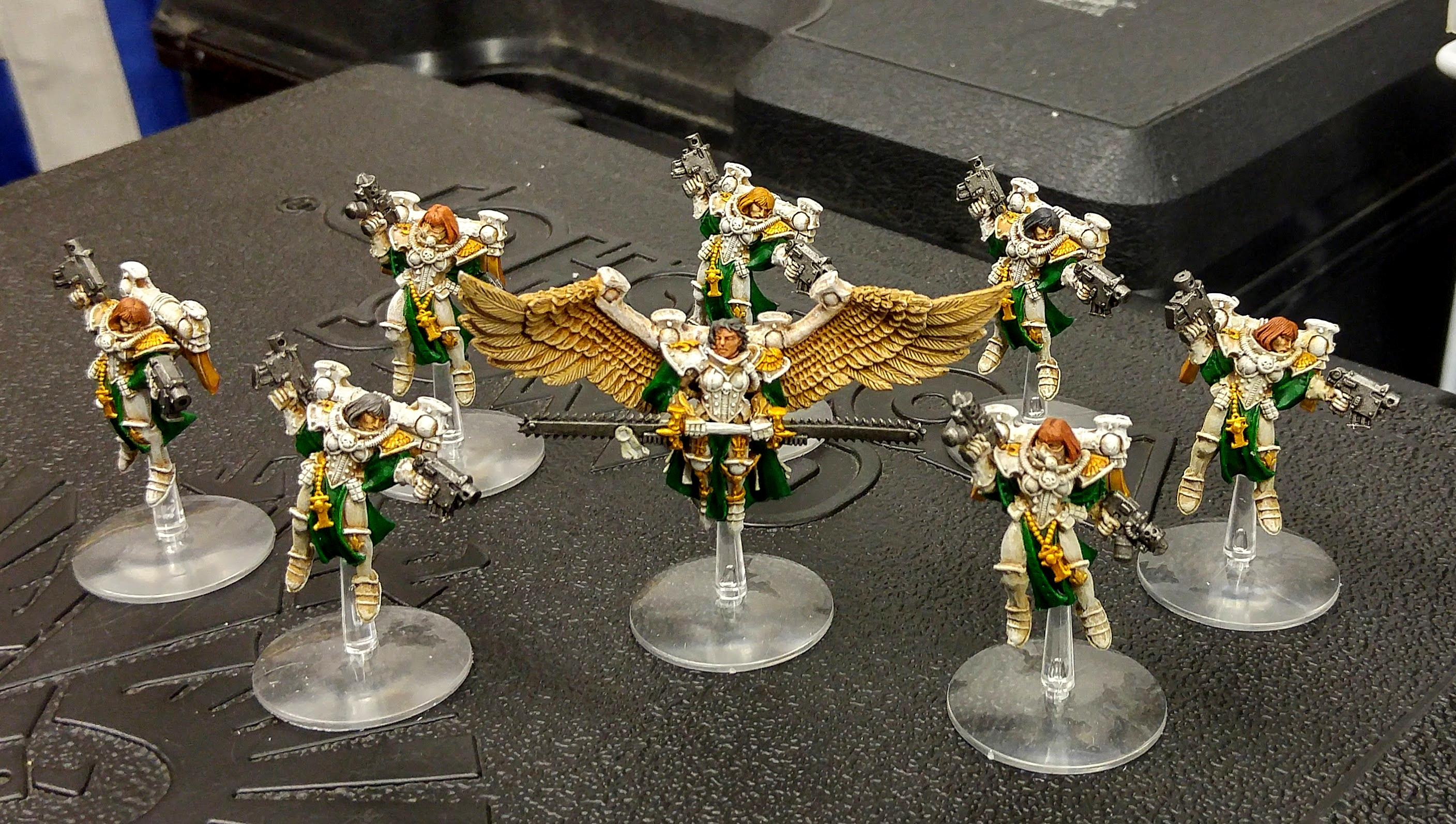 Newly painted squad of Seraphim with counts-as Celestine