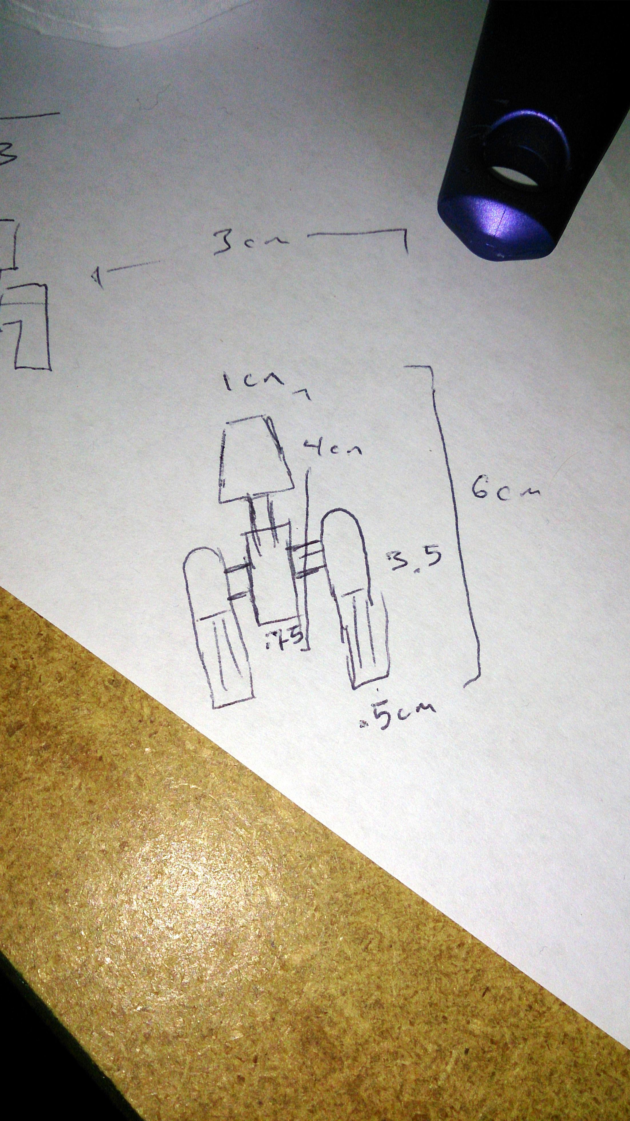 Cardboard X-Wing sketching