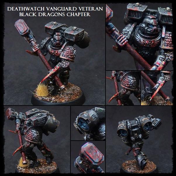 Black Dragons, Deathwatch, Space Marines, Vanguard, Warhammer 40,000, Weathered