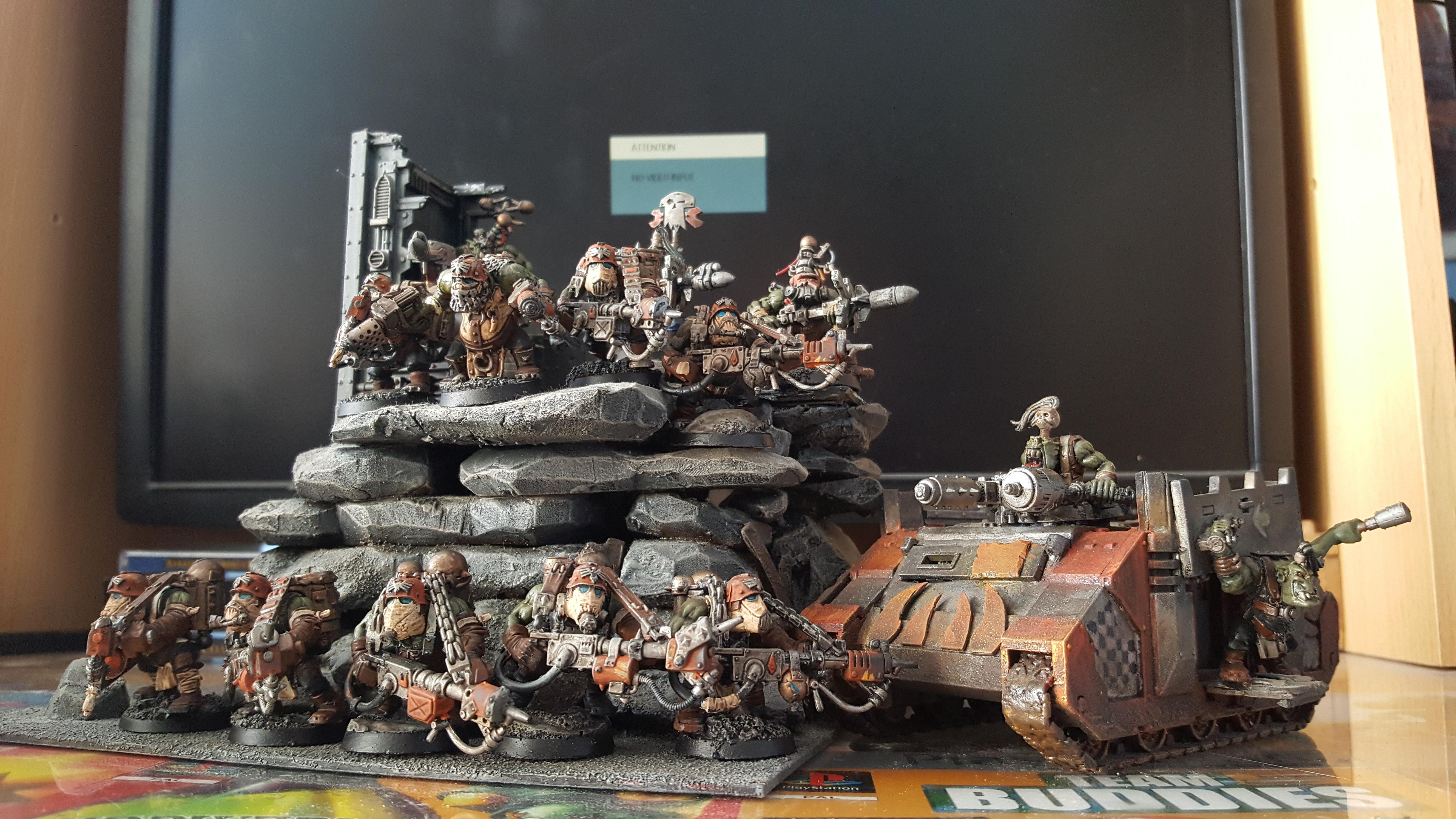 Boy, Boys, Burna Boyz, Conversion, Looted Wagon, Mekboy, Orange, Orks, Paintjob, Rhino, Rokkit, Trukk