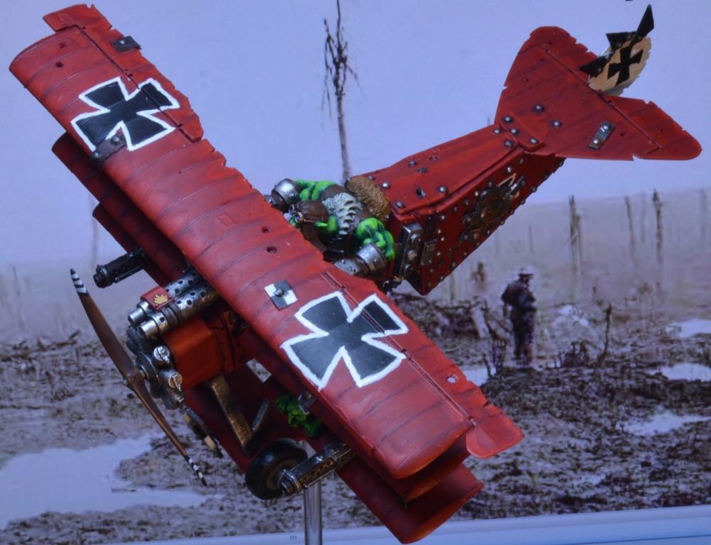 Conversion, Dakka Dakka, Flyer, Fokker, Ork Red Baron, Orks, Red, Triplane