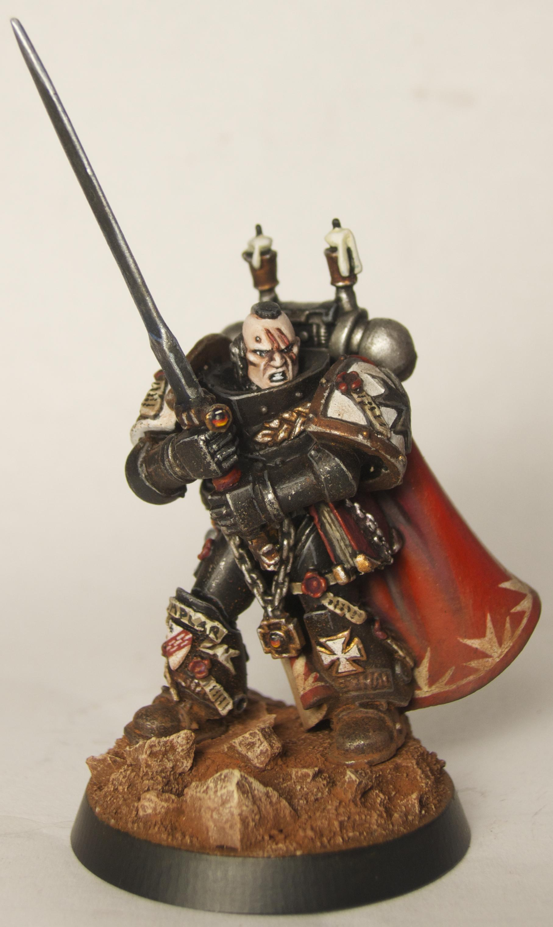 Black Templars, Captain, Conversion, Emperor's Champion, Freehand, Space Marines, Weathered