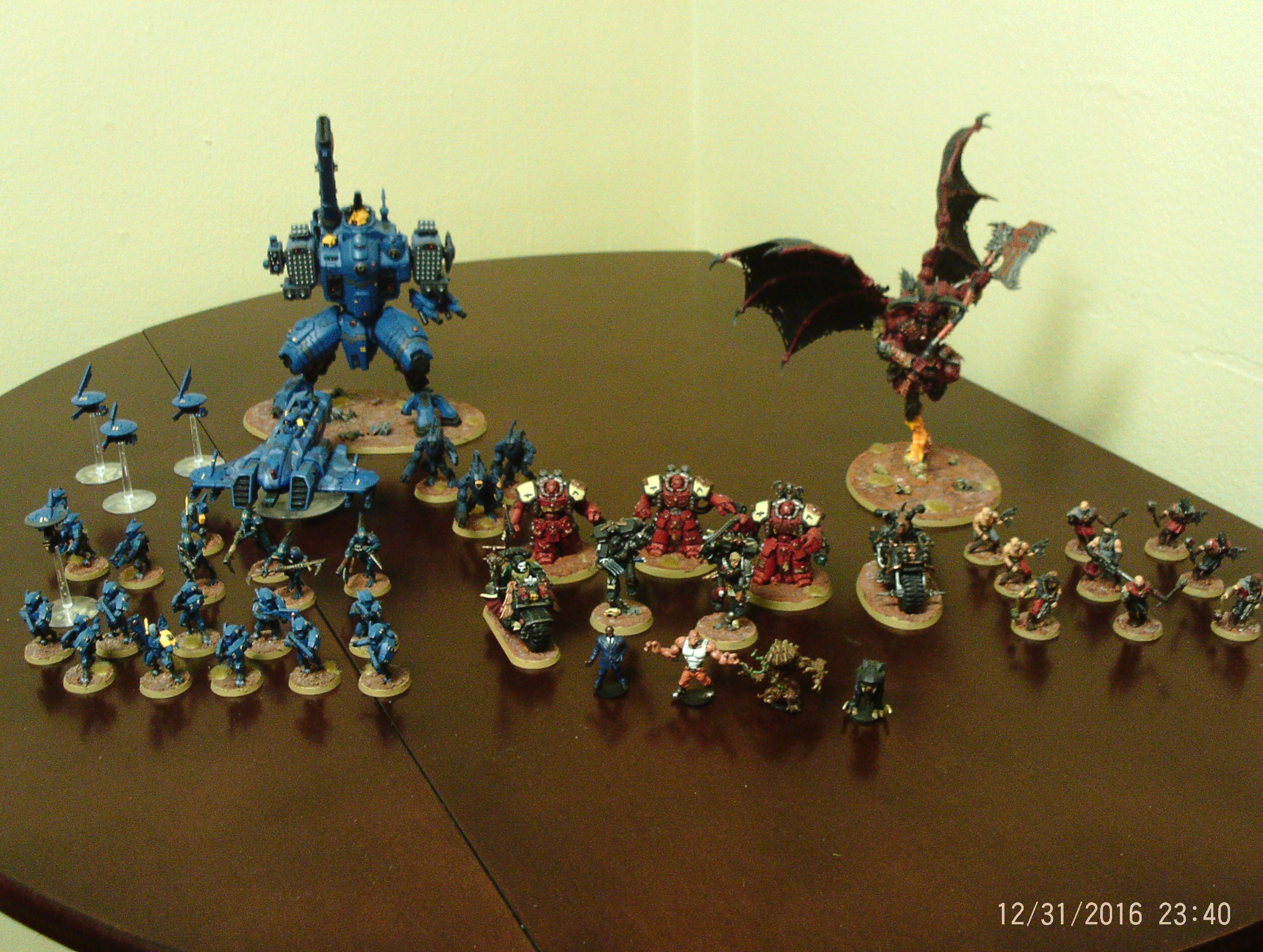 Angel, Battlesuit, Chaos, Collection, Convict, Daemonkin, Daemons, Dark, Deathwatch, Dreadball, Drone, Fire, Khorne, Space, Space Marines, Tau, Warriors