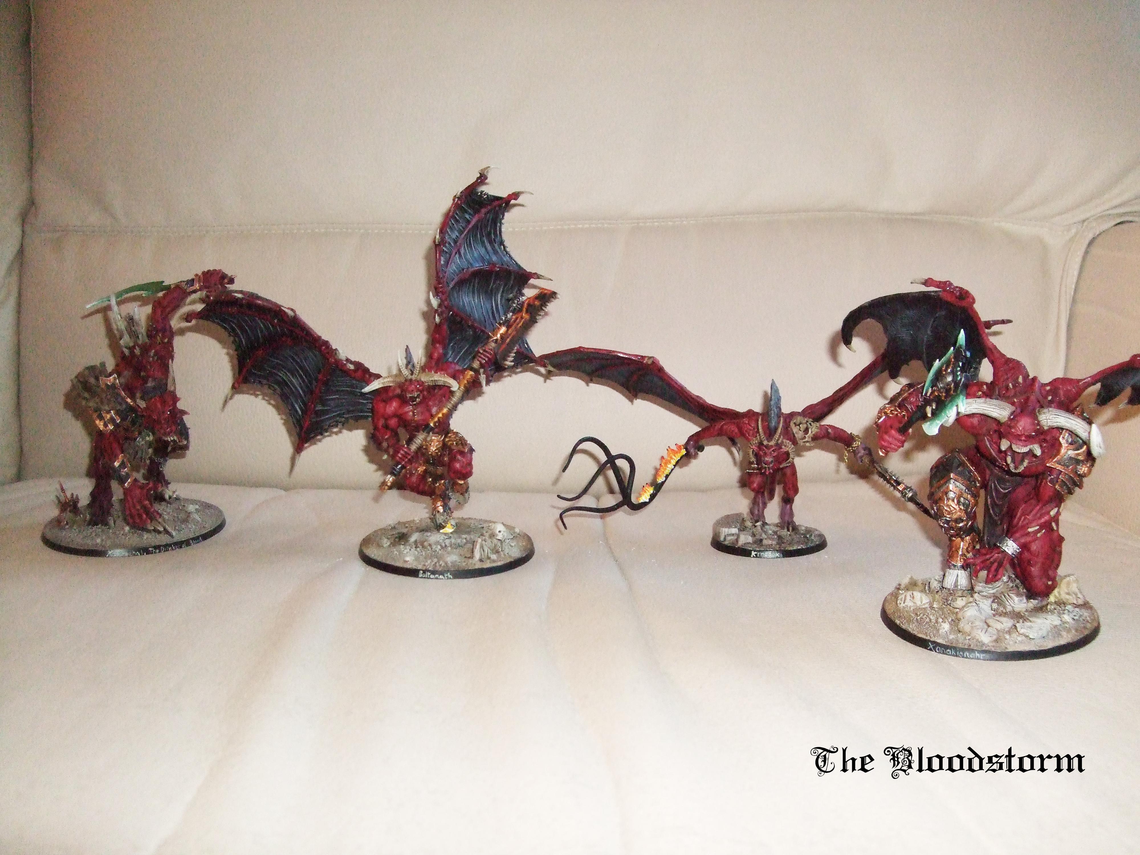 Axe, Bloodthirster, Chaos, Conversion, Daemons, Drybrush, Greater Daemon, Khorne Daemonkin, Sand Base, Warhammer 40,000