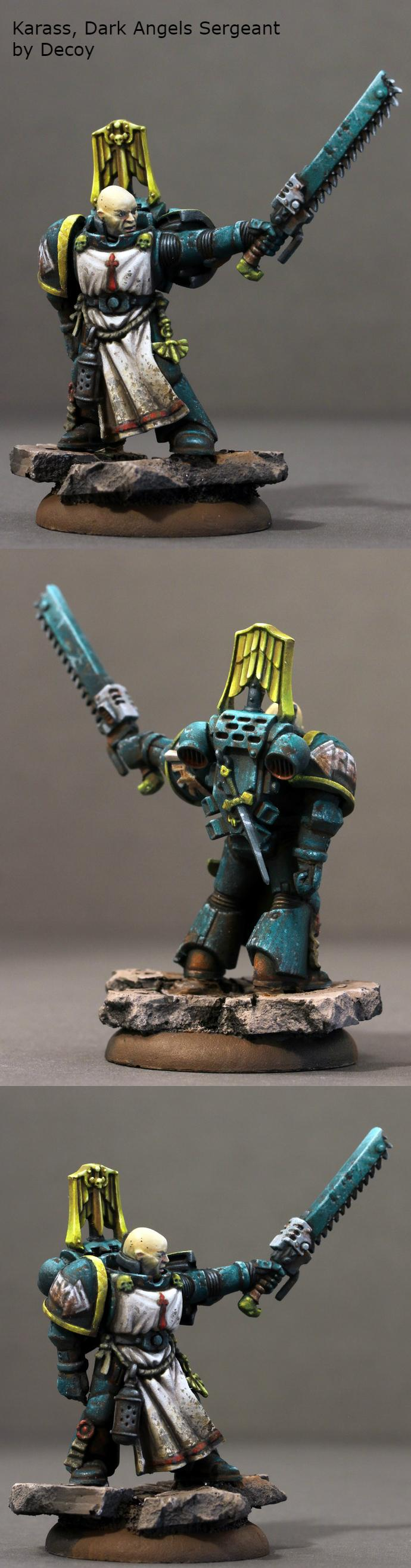 Boardgame, Dark Angels, Miniature, Sergeant, Spacemarine, Warhammer 40,000