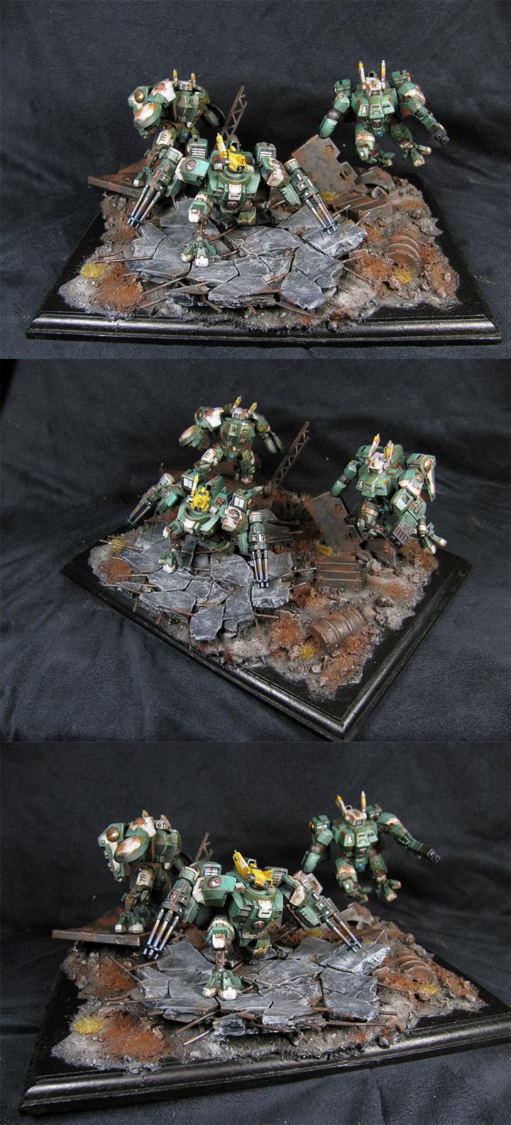 Crisis Battlesuit, Diorama, Tau, Team, Unit, Warhammer 40,000